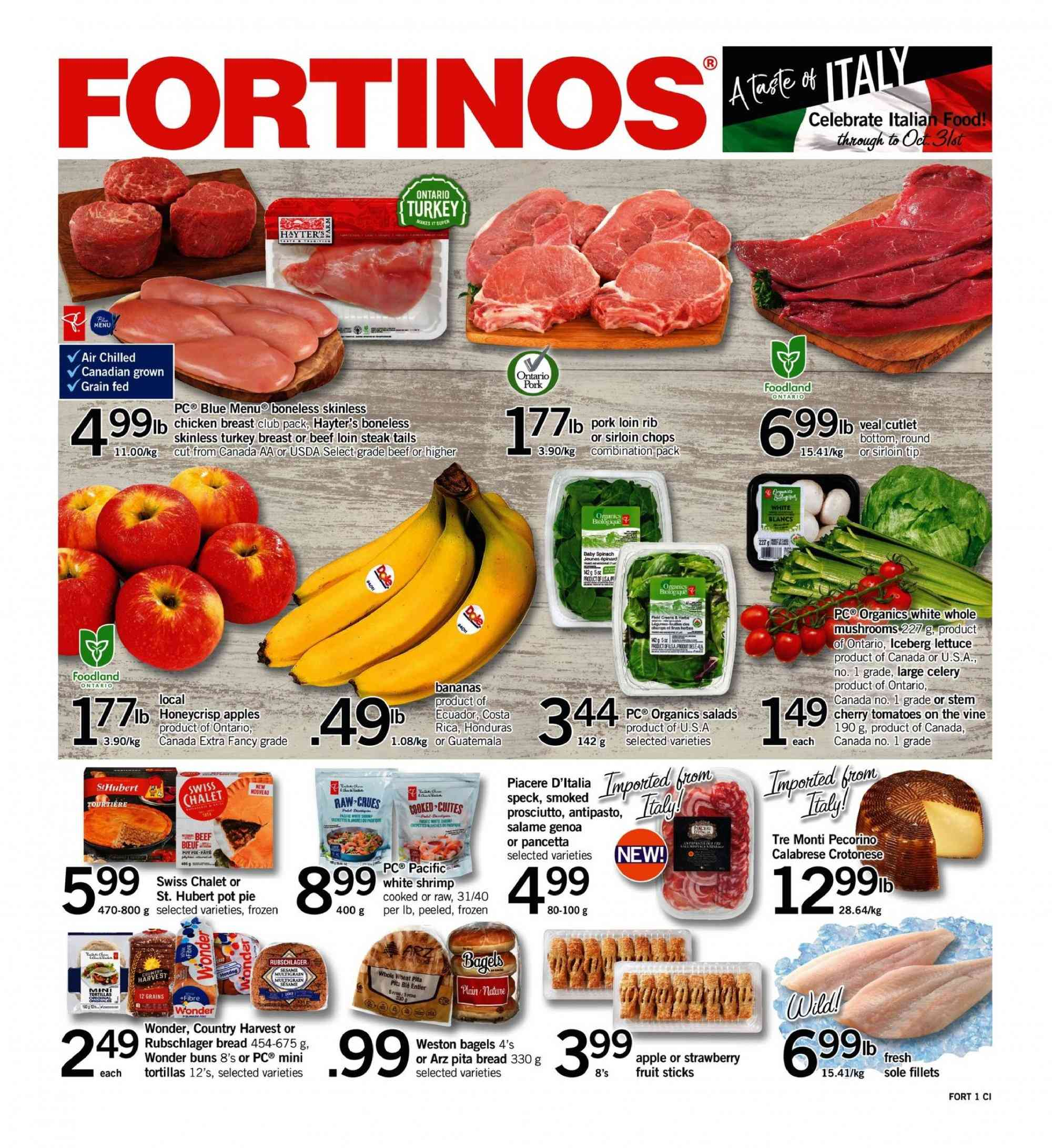 Fortinos Flyer  - October 11, 2018 - October 17, 2018. Page 1.