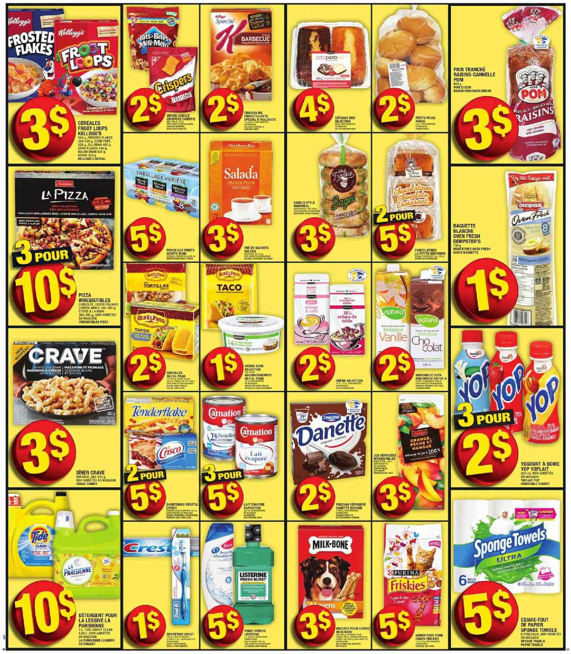 Super C Flyer - October 18, 2018 - October 24, 2018 - Sales products - baguette, biscuits, bran, bread, cereals, corn, crème, crest, detergent, listerine, milk, raisins, tide, tortillas, towel, yogurt, pizza, oven, sponge, cereal, danone, corn flakes, punch, flakes, barbecue, biscuit, cannelle, dentifrice, friskies, tortilla, vanille, kellogg's, sachet, lessive, jus, fruits. Page 4.