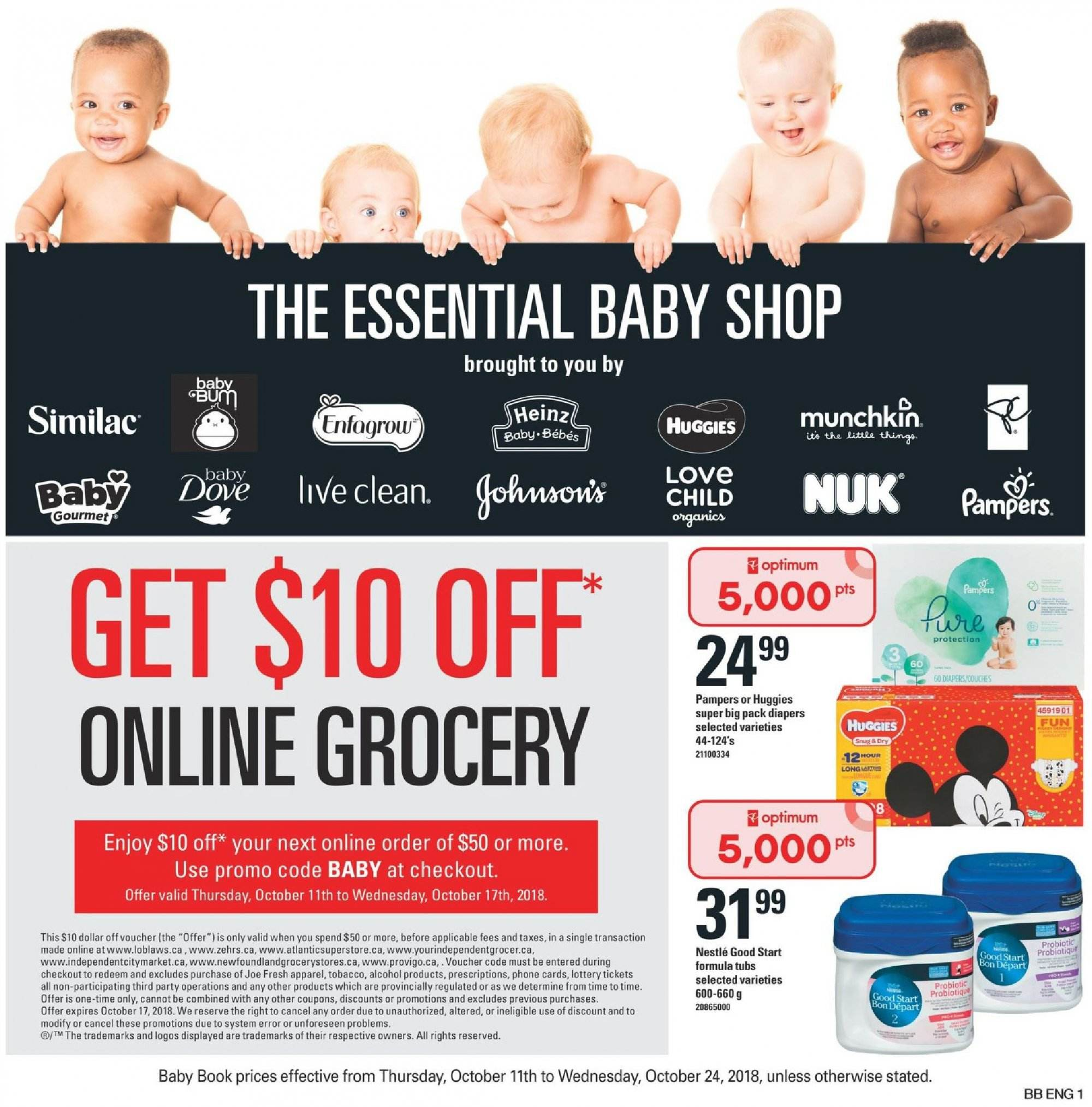 Atlantic Superstore Flyer  - October 11, 2018 - October 24, 2018. Page 1.