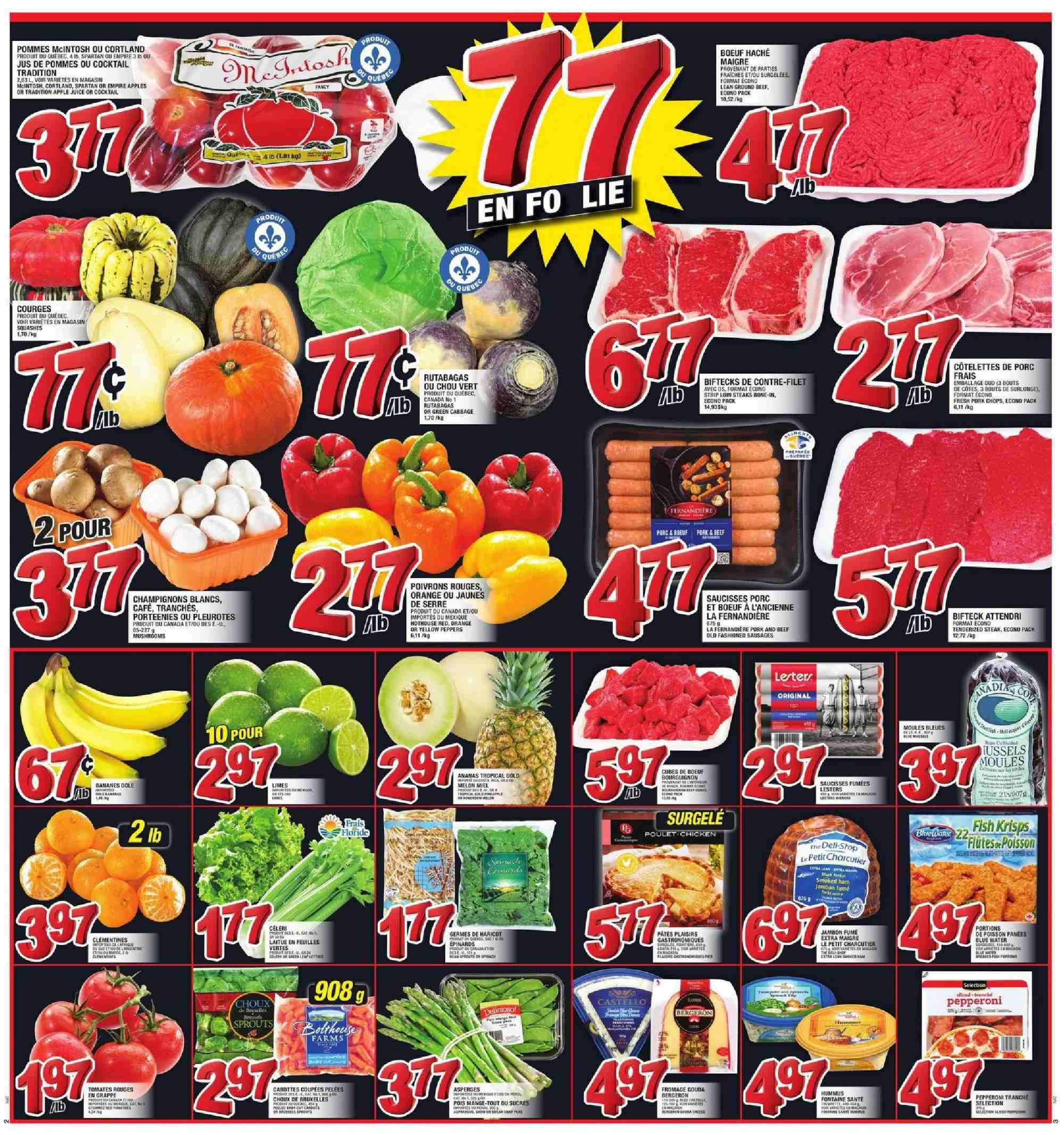 Super C Flyer - October 25, 2018 - October 31, 2018 - Sales products - apple juice, apples, beef meat, cabbage, clémentines, gouda, sausages, hummus, pork chops, pork meat, pepperoni, steak, juice, melon, tomates, pommes, cafe, porc, jambon, champignon, ananas, banane, bœuf, feuilles, fromage, haricot, chou, moules farcies, mcintosh, orange, saucisse, poivrons, pâtes, jus. Page 3.