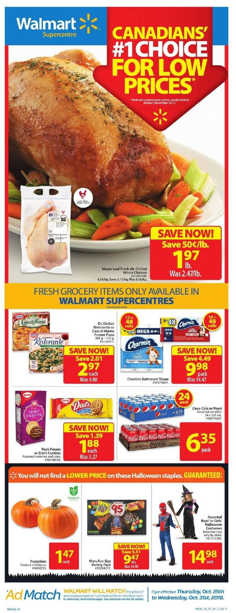 Walmart Flyer - October 25, 2018 - October 31, 2018 - Sales products - cookies, frozen, matcha, whole chicken, pizza, chicken, pepsi, halloween. Page 1.