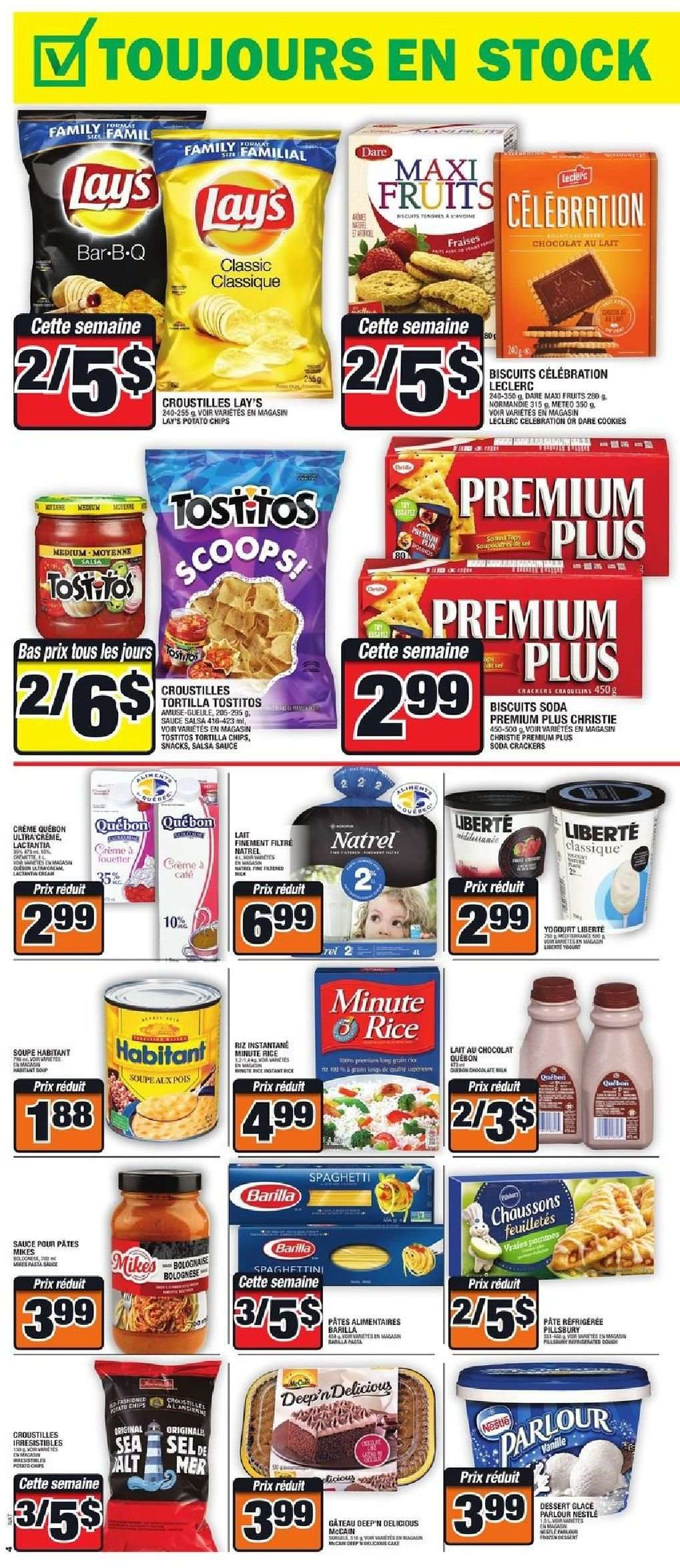 Super C Flyer - November 01, 2018 - November 07, 2018 - Sales products - biscuits, cookies, crackers, crème, nestlé, rice, tortilla chips, potato chips, chips, soda, dessert, salsa, lay's, sauce, chocolat, lait, cafe, biscuit, gâteau, glace, tortilla, soupe, riz, pâtes, snacks, fruits. Page 4.