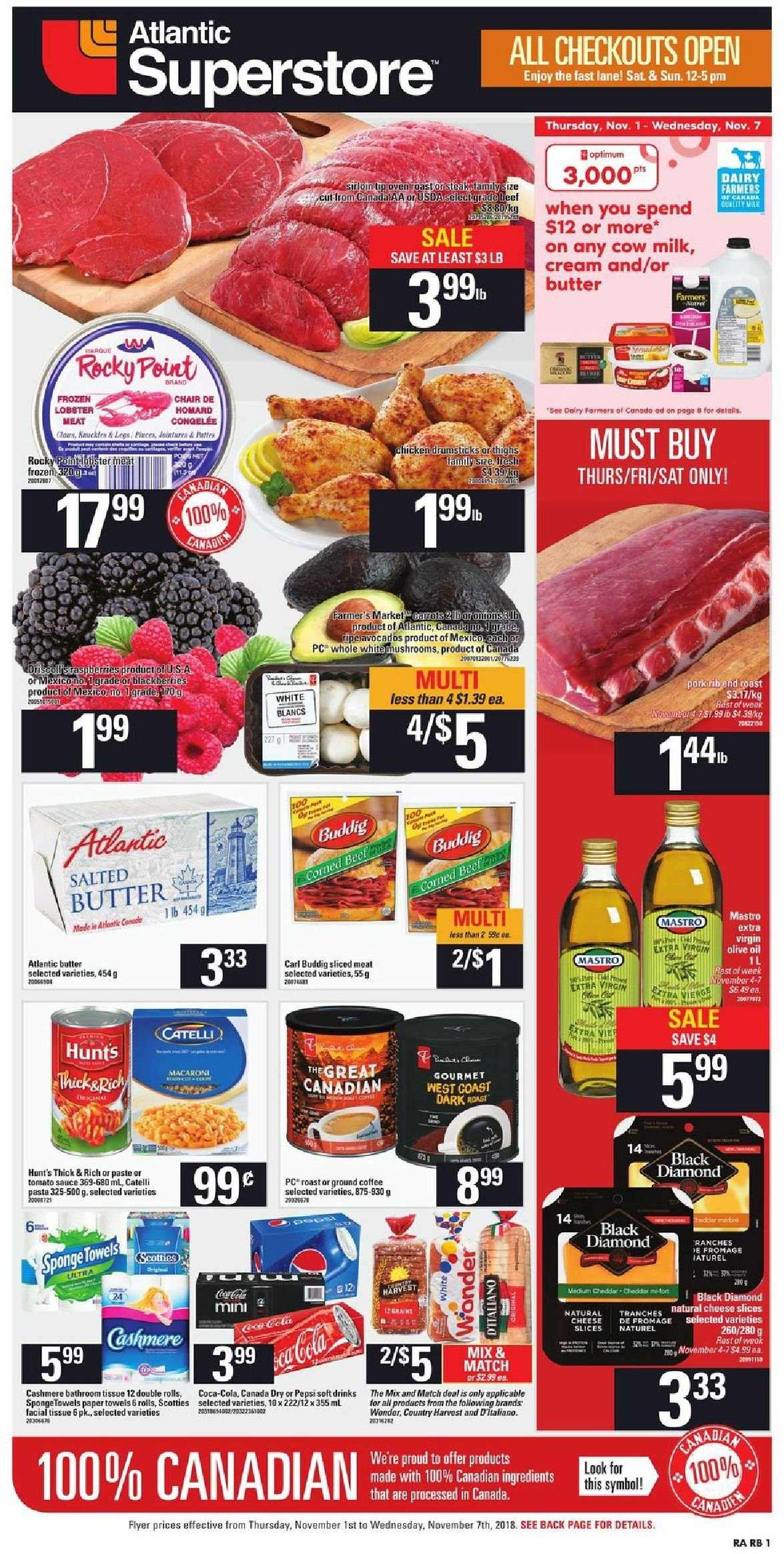 Atlantic Superstore Flyer - November 01, 2018 - November 07, 2018 - Sales products - butter, canada dry, coffee, cream, milk, tomato sauce, towel, chair, cheddar, cheese slices, paper towel, pepsi, olive oil, cheese, macaroni, sauce, fromage, tissu. Page 1.
