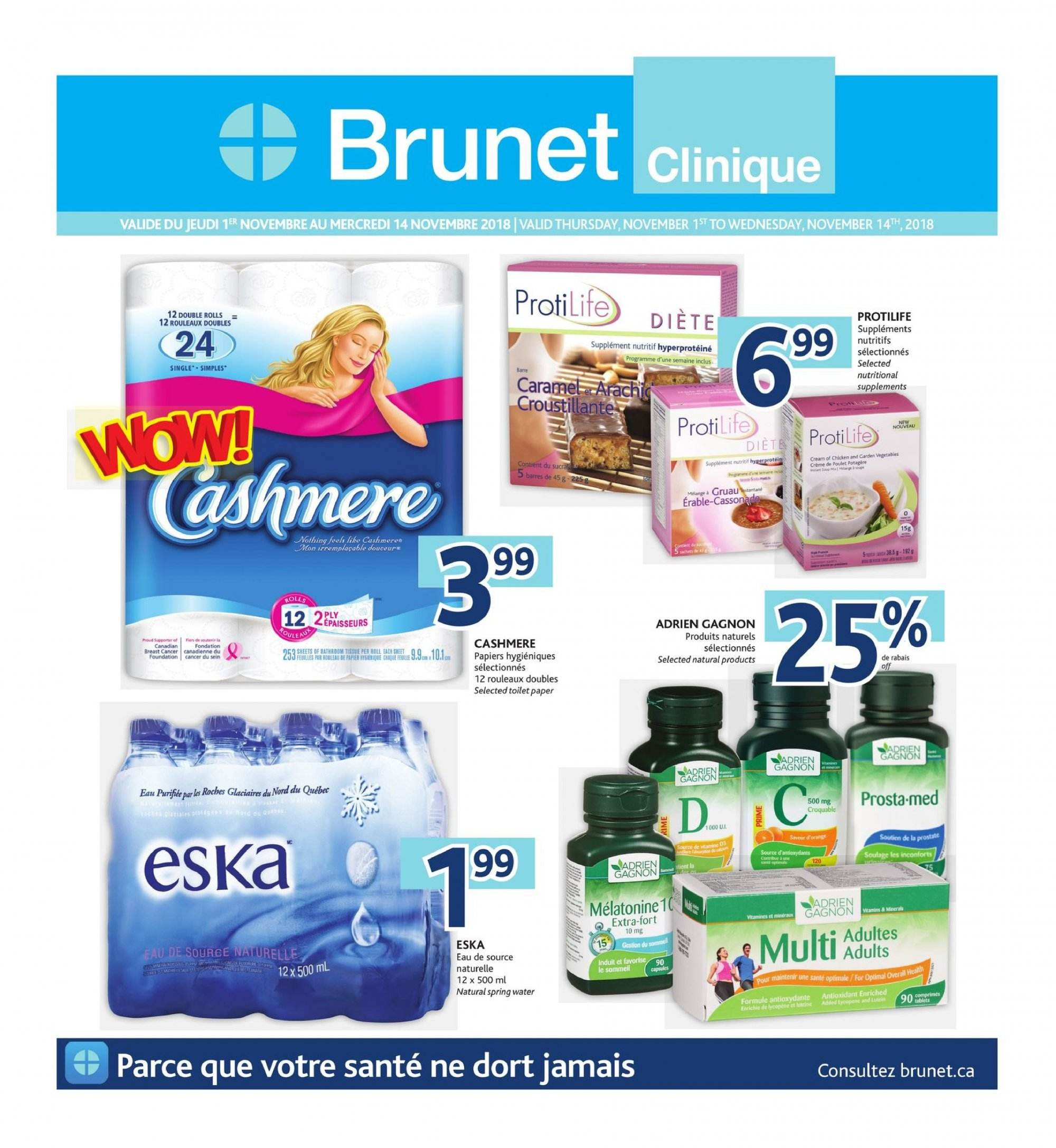 Brunet Flyer - November 01, 2018 - November 14, 2018 - Sales products - water. Page 1.