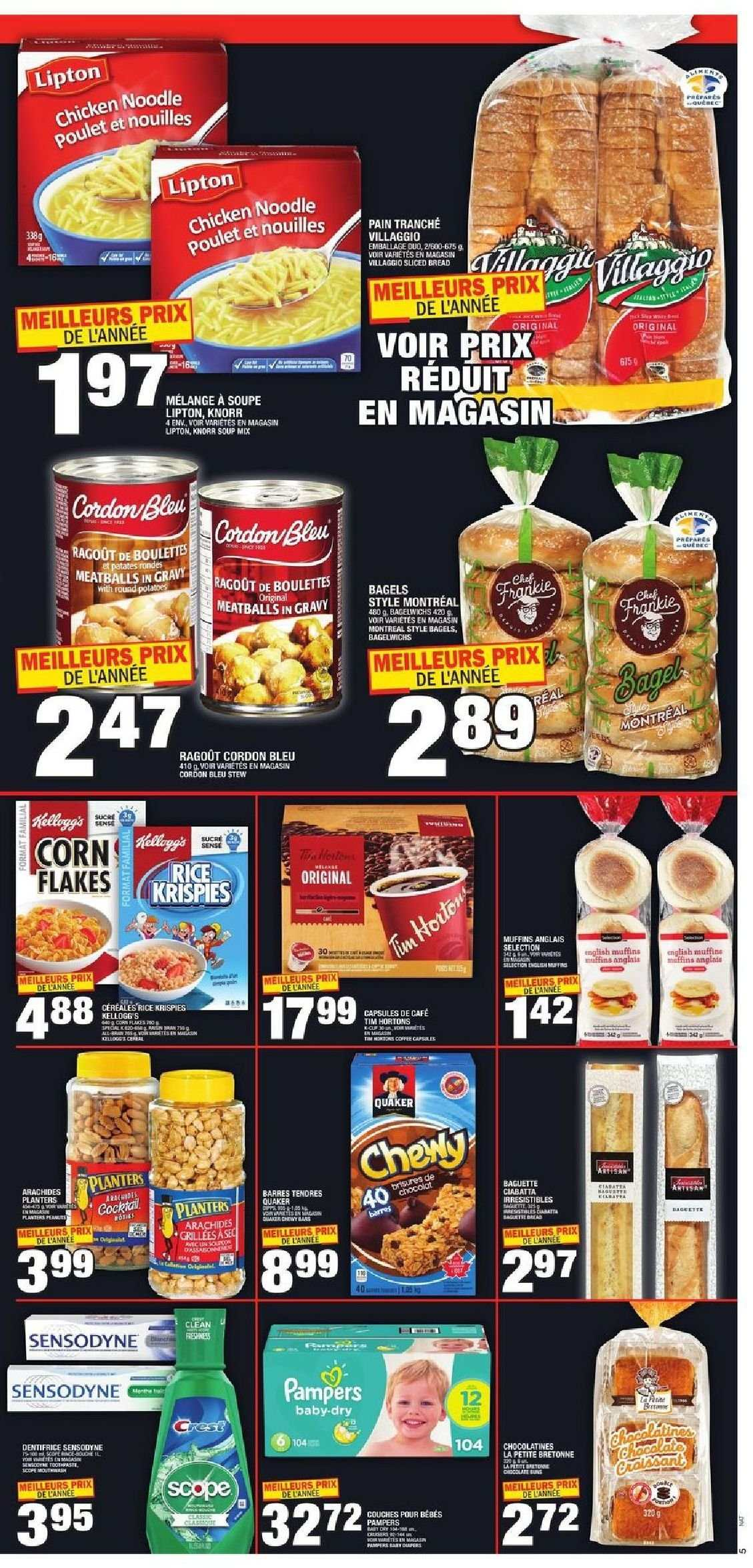 Super C Flyer - November 15, 2018 - November 21, 2018 - Sales products - bagels, bread, capsules, corn, muffins, rice, chicken, noodle, meatballs, soup mix, soup, sensodyne, corn flakes, lipton, knorr, flakes, cafe, cordon bleu, dentifrice, soupe, nouilles, plante. Page 5.