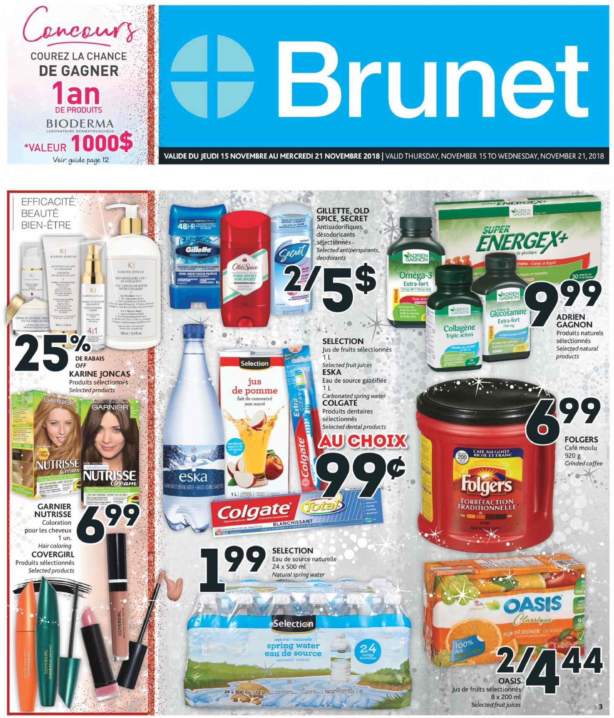 Brunet Flyer - November 15, 2018 - November 21, 2018 - Sales products - water. Page 1.