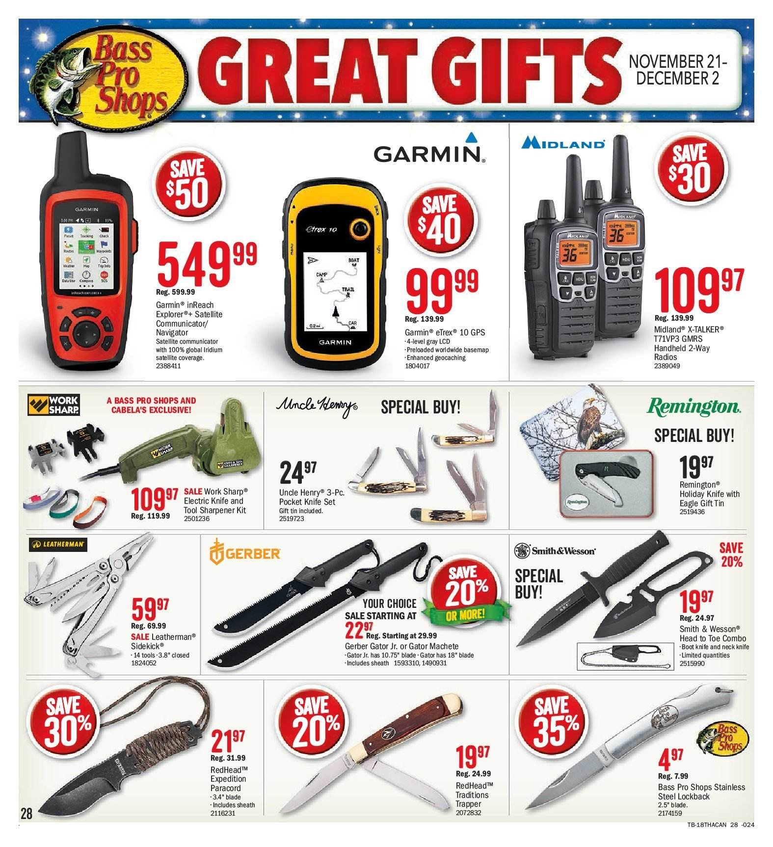 Bass Pro Shops Flyer  - November 21, 2018 - December 02, 2018. Page 28.
