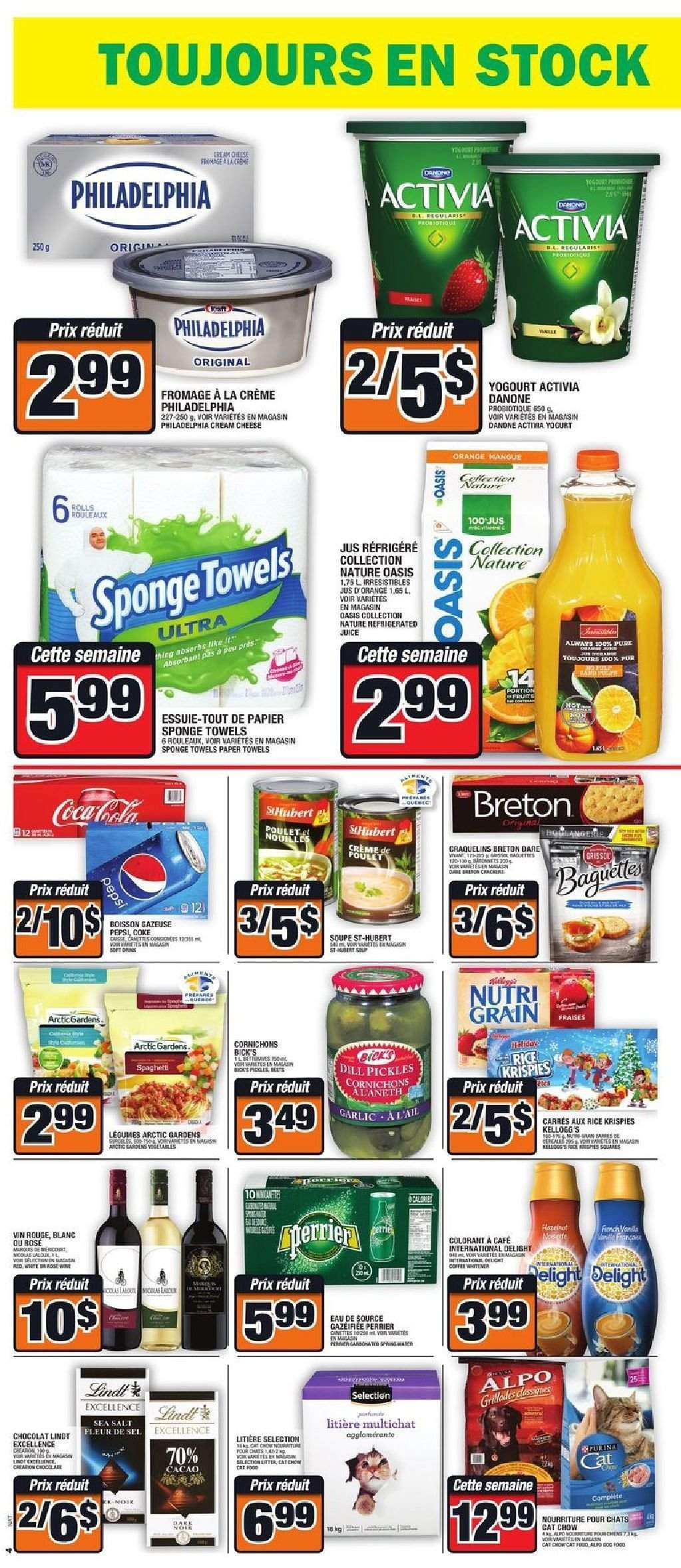Super C Flyer - November 22, 2018 - November 28, 2018 - Sales products - coca cola, cream, cream cheese, crème, dill, garlic, rice, towel, yogurt, philadelphia, pickles, paper towel, pepsi, cheese, juice, sponge, danone, lindt, poulet, chocolat, cafe, activia, boisson, cacao, cornichon, eau, fleur, fromage, vin rouge, soupe, jus d'orange, kellogg's, sel, perrier, jus, vin. Page 4.