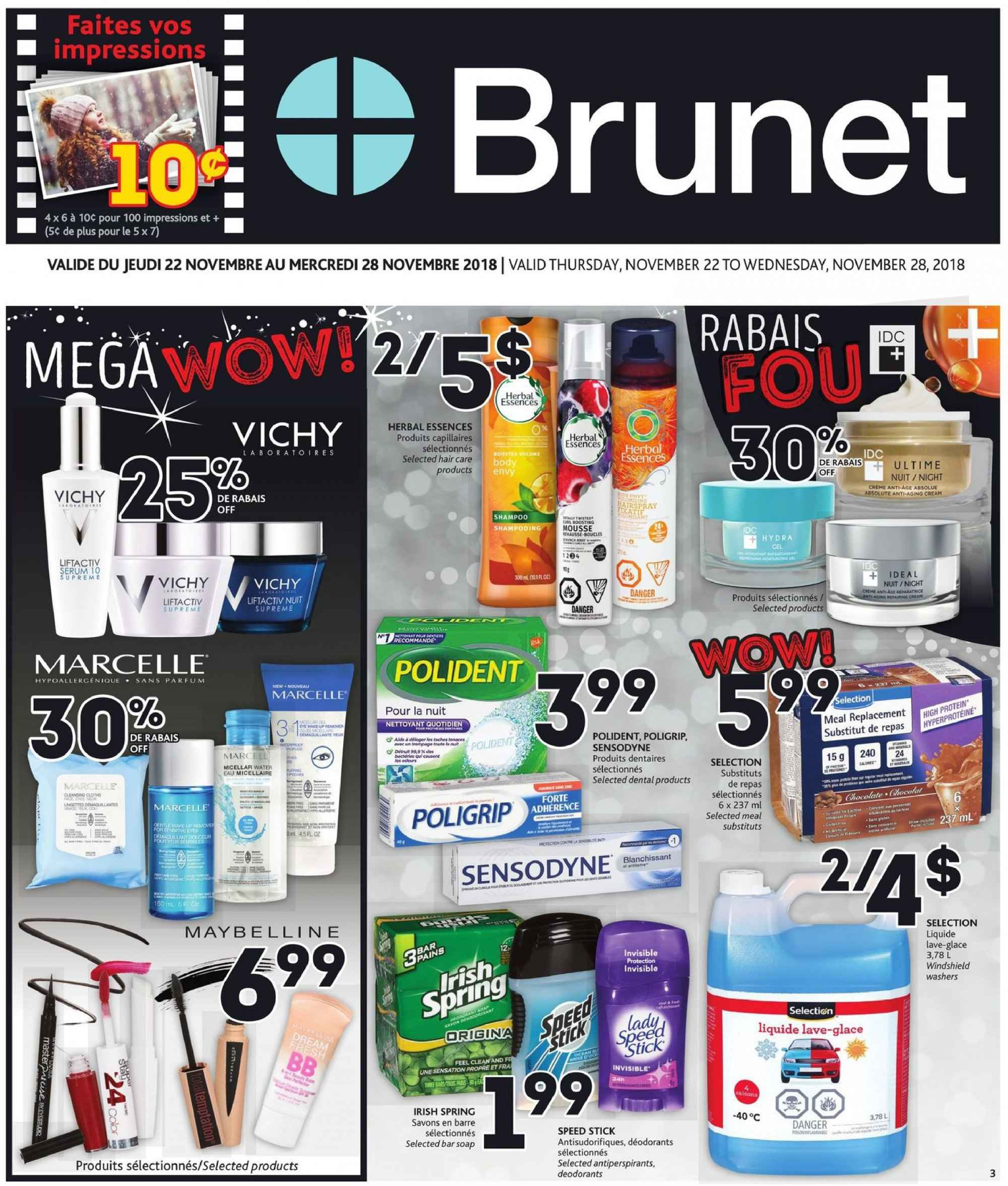 Brunet Flyer - November 22, 2018 - November 28, 2018 - Sales products - water. Page 1.