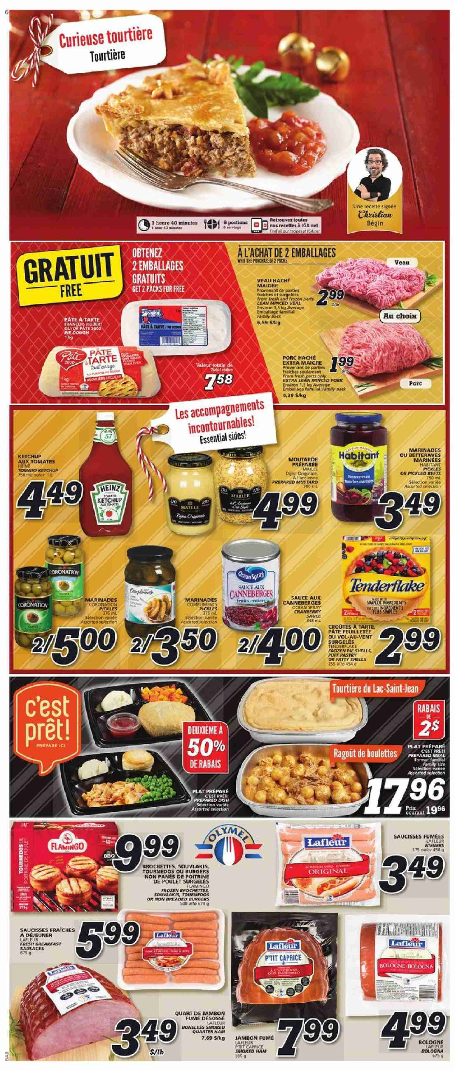 IGA Flyer - November 29, 2018 - December 05, 2018 - Sales products - flamingo, frozen, mustard, sausages, veal meat, ham, ketchup, pickles, puff pastry, pie, sauce, tomates, poulet, porc, veau, jambon, tarte, canneberge, total, saucisse, maille, pâtes, fruits, family pack. Page 4.