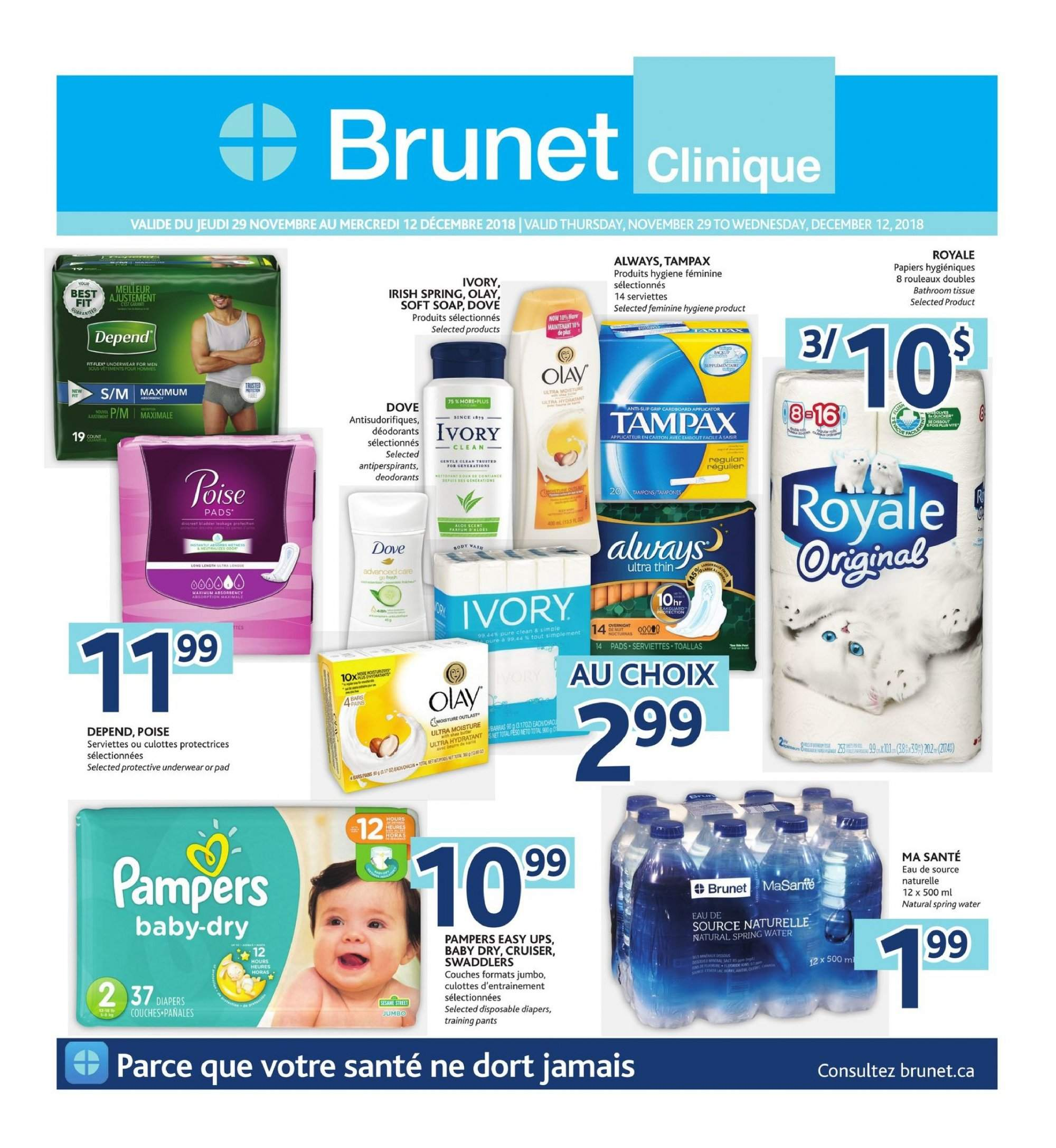 Brunet Flyer - November 29, 2018 - December 12, 2018 - Sales products - water. Page 1.
