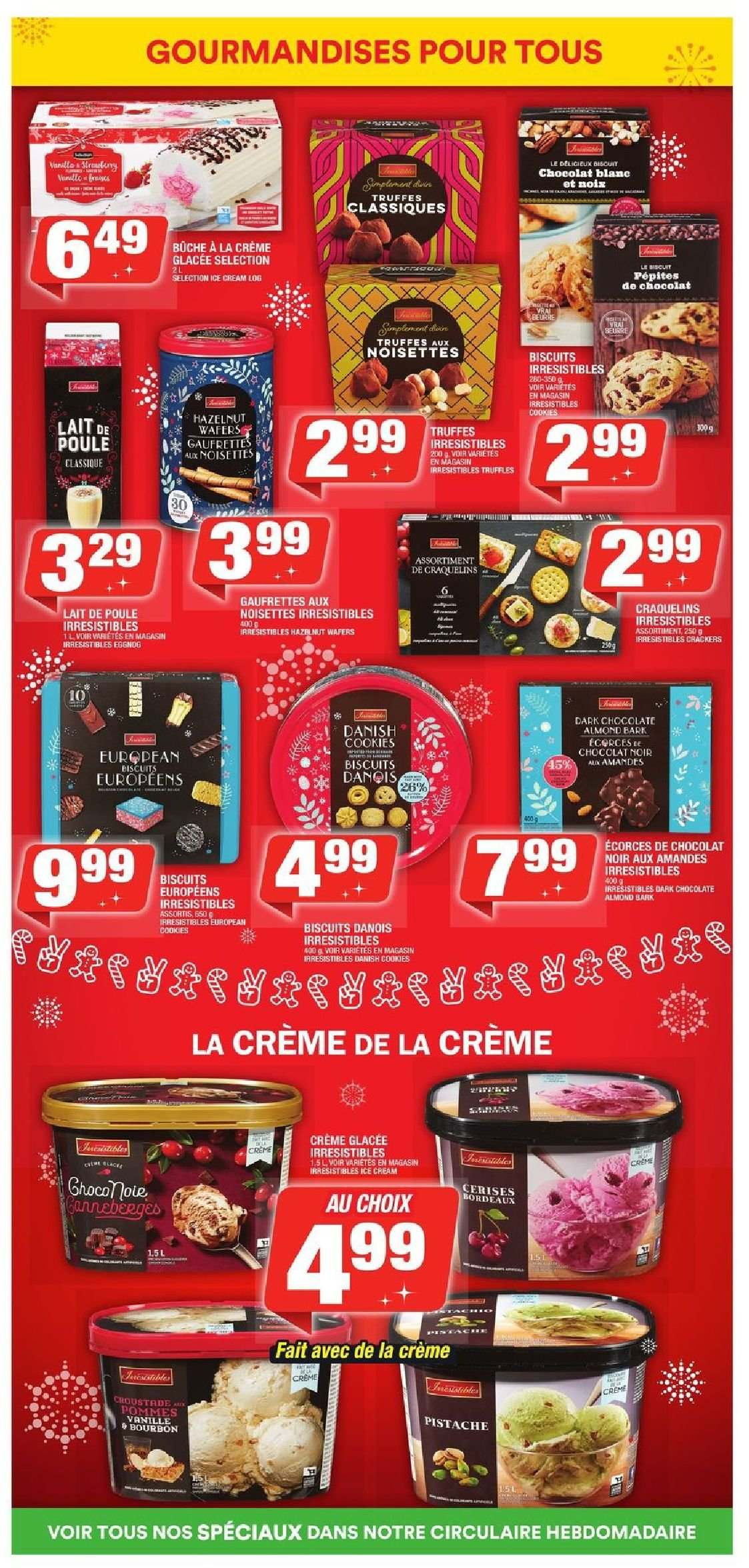 Super C Flyer - December 06, 2018 - January 02, 2019 - Sales products - biscuits, bittersweet chocolate, cookies, crackers, crème, eggnog, wafers, chocolate, chocolat, lait, amandes, biscuit, truffe, poule, noisette. Page 9.