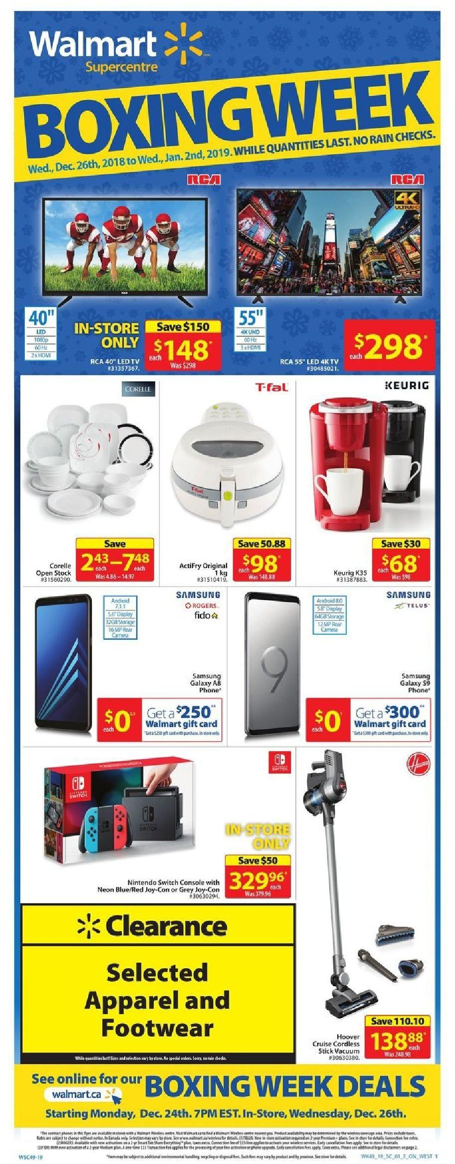 Walmart Flyer - December 26, 2018 - January 02, 2019 - Sales products - android, apparel, caméra, console, galaxy, led tv, rca, samsung, switch, vacuum, hdmi, nintendo, gift card, footwear, nintendo switch. Page 1.