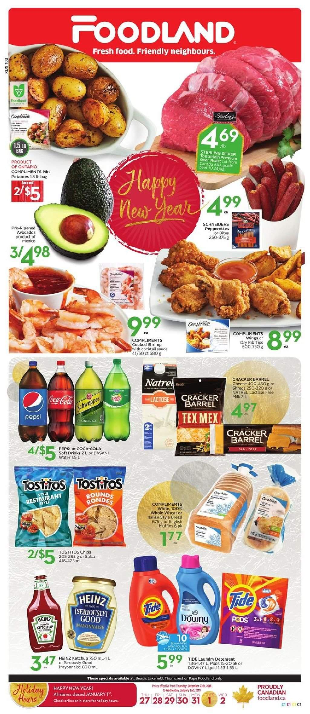 Foodland Flyer  - December 27, 2018 - January 02, 2019. Page 1.