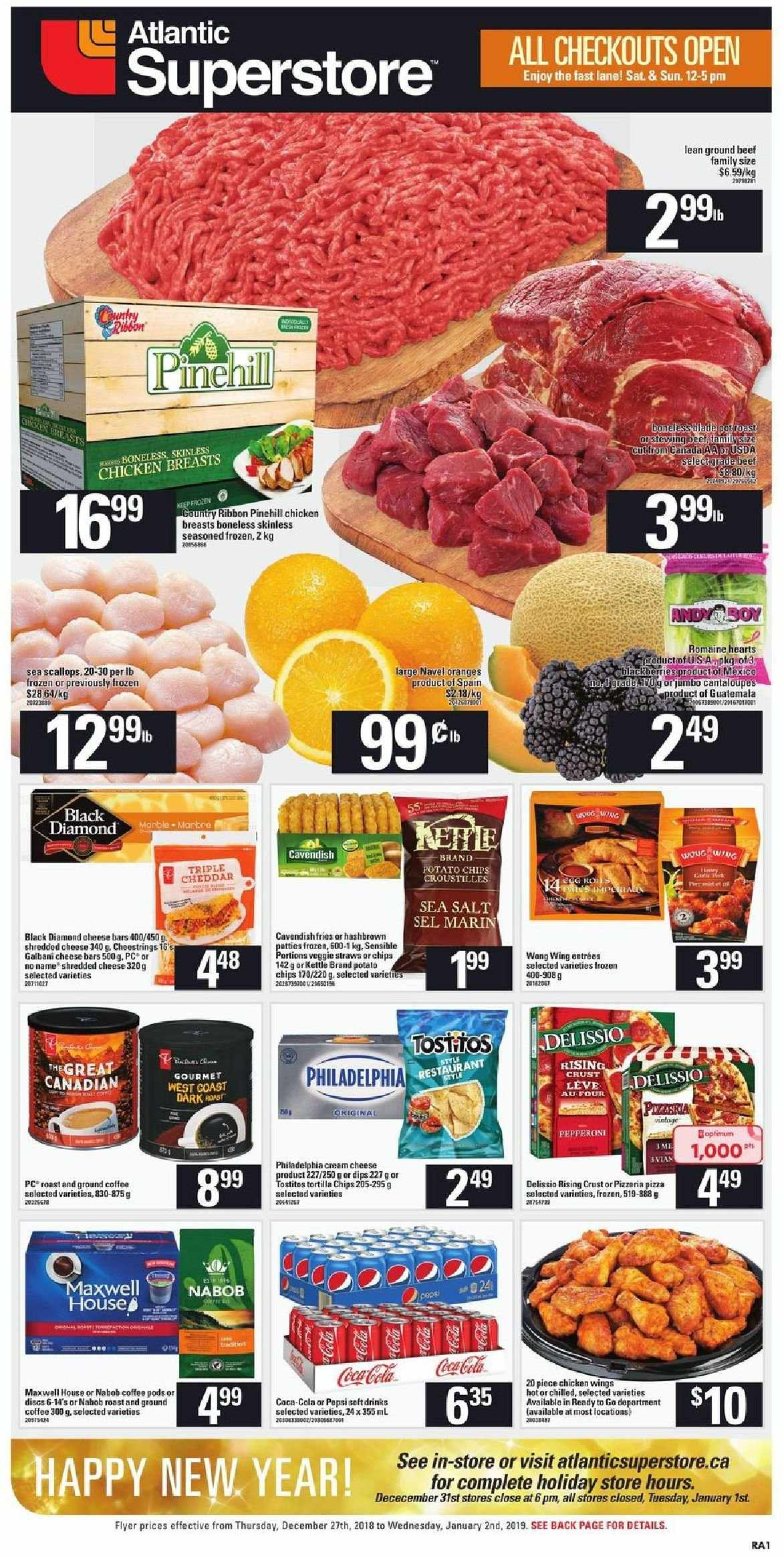 Atlantic Superstore Flyer  - December 27, 2018 - January 02, 2019. Page 1.