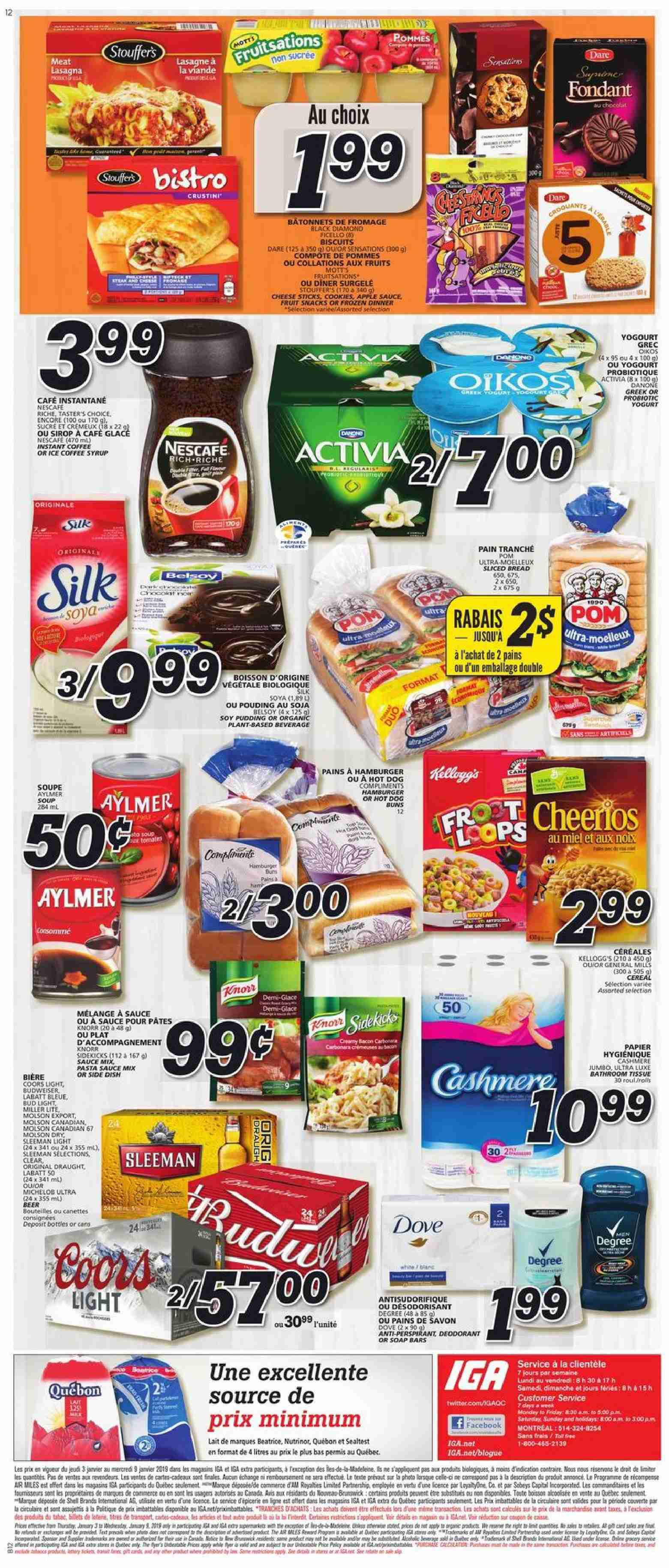 IGA Flyer  - January 03, 2019 - January 09, 2019. Page 12.