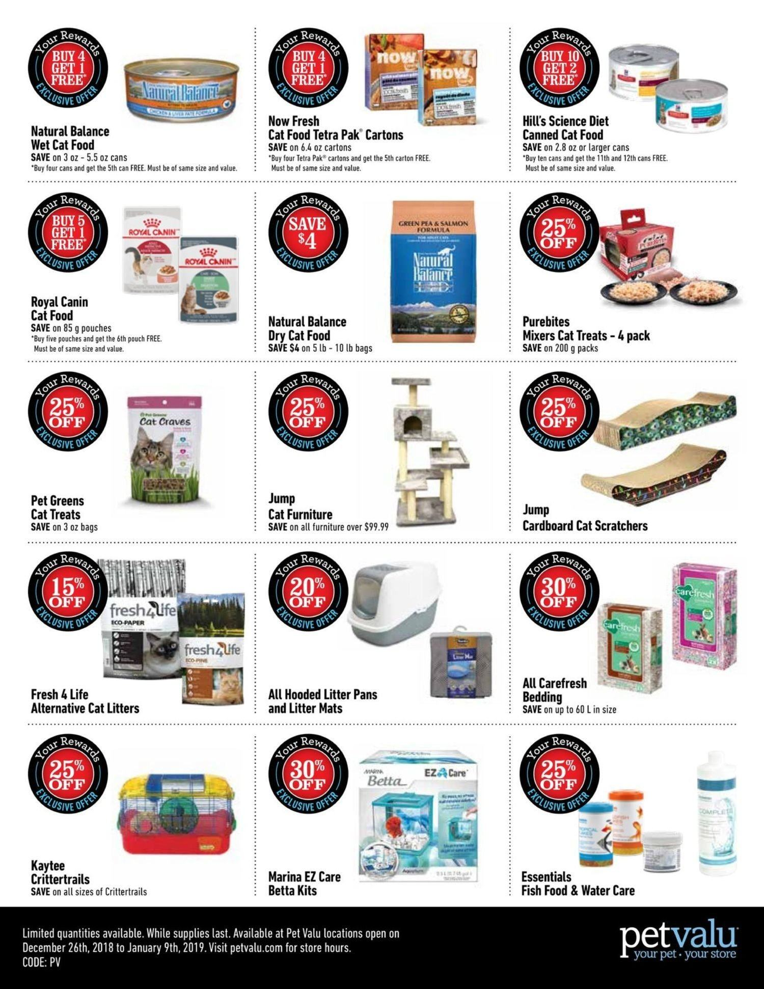 Pet Valu Flyer - December 26, 2018 - January 09, 2019 - Sales products - animal food, bag, bedding, cat food, furniture, litter, royal canin, salmon, science diet, tetra, pet, four. Page 2.