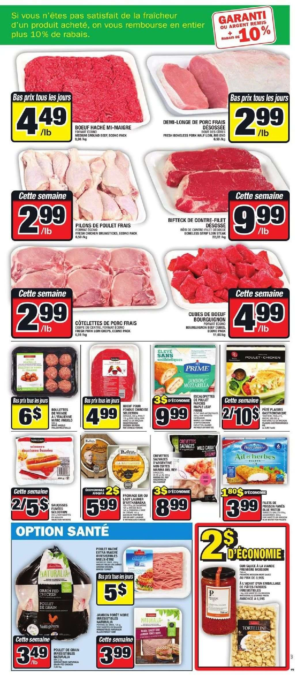 Super C Flyer - January 10, 2019 - January 16, 2019 - Sales products - beef meat, ground beef, pork loin, pork meat, chicken, chicken drumsticks, steak, poulet, viande, porc, jambon, bœuf, coupe, fondue, fromage, tortellini, saucisse, pâtes. Page 4.