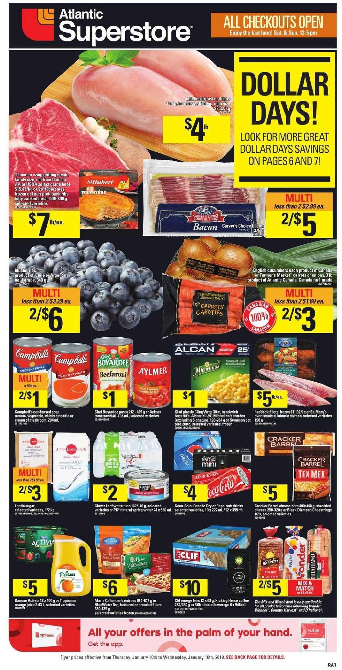 Atlantic Superstore Flyer - January 10, 2019 - January 16, 2019 - Sales products - bacon, bag, beef meat, campbell's, canada dry, carrots, coffee, cream, cucumbers, frozen, shredded cheese, spring water, sugar, tomatoes, tuna, wrap, haddock, pork meat, chicken, pepsi, noodle, oven, onion, orange juice, steak, cheese, juice, sandwich, condensed soup, soup, vegetable, mushroom, pasta, danone, cracker, ribs, activia, orange, tropicana. Page 1.