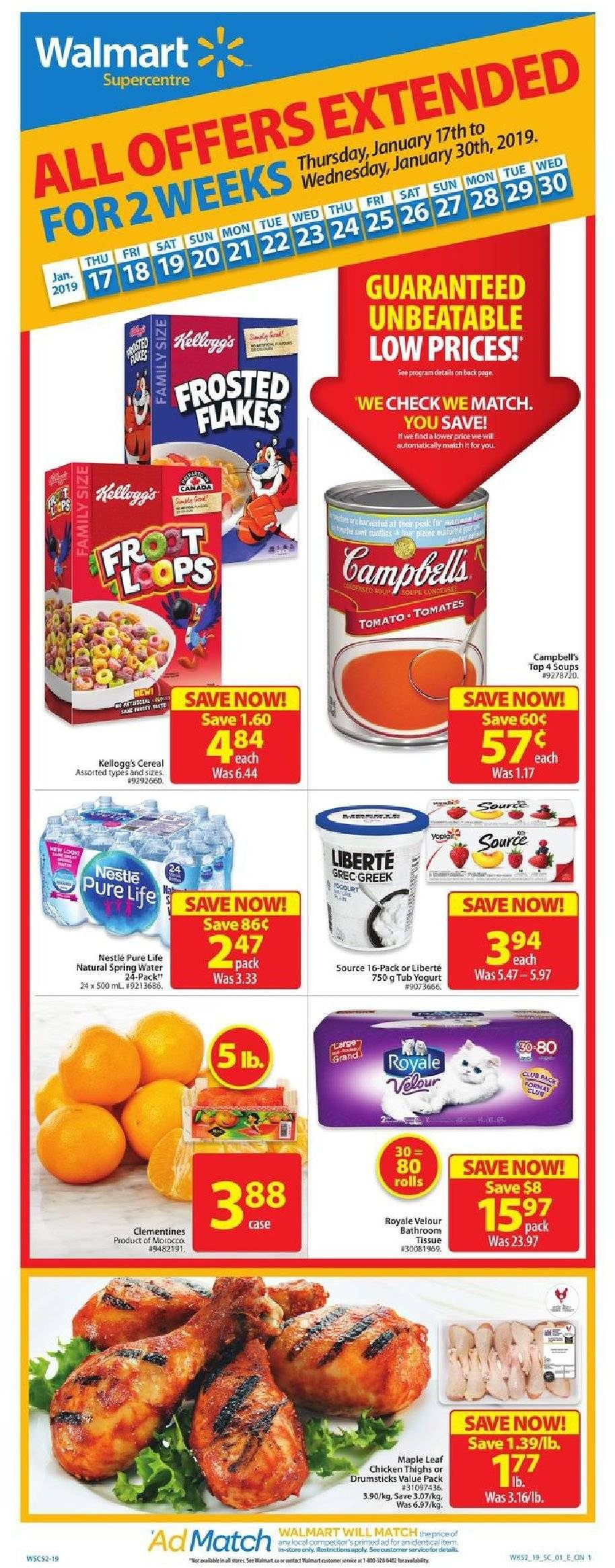 Walmart Flyer - January 17, 2019 - January 30, 2019 - Sales products - campbell's, cereals, nestlé, spring water, yogurt, chicken, chicken thighs, cereal, tomates, kellogg's. Page 1.