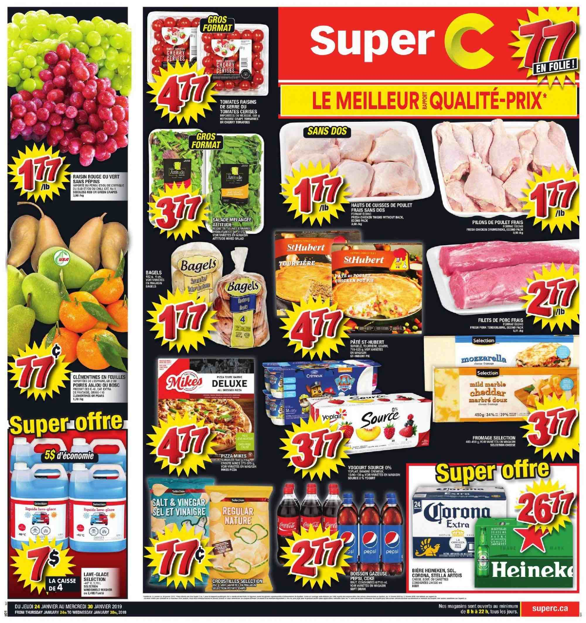 Super C Flyer - January 24, 2019 - January 30, 2019 - Sales products - bagels, clémentines, coca cola, grapes, mozzarella, raisins, stella artois, tomatoes, vinegar, pizza, pork meat, cheddar, chicken, pears, pepsi, chicken thighs, cheese, danone, salad, tomates, poulet, porc, salade, bière, boisson, cerise, feuilles, fromage, glace, vinaigre, marble, rouge, pâtes. Page 1.