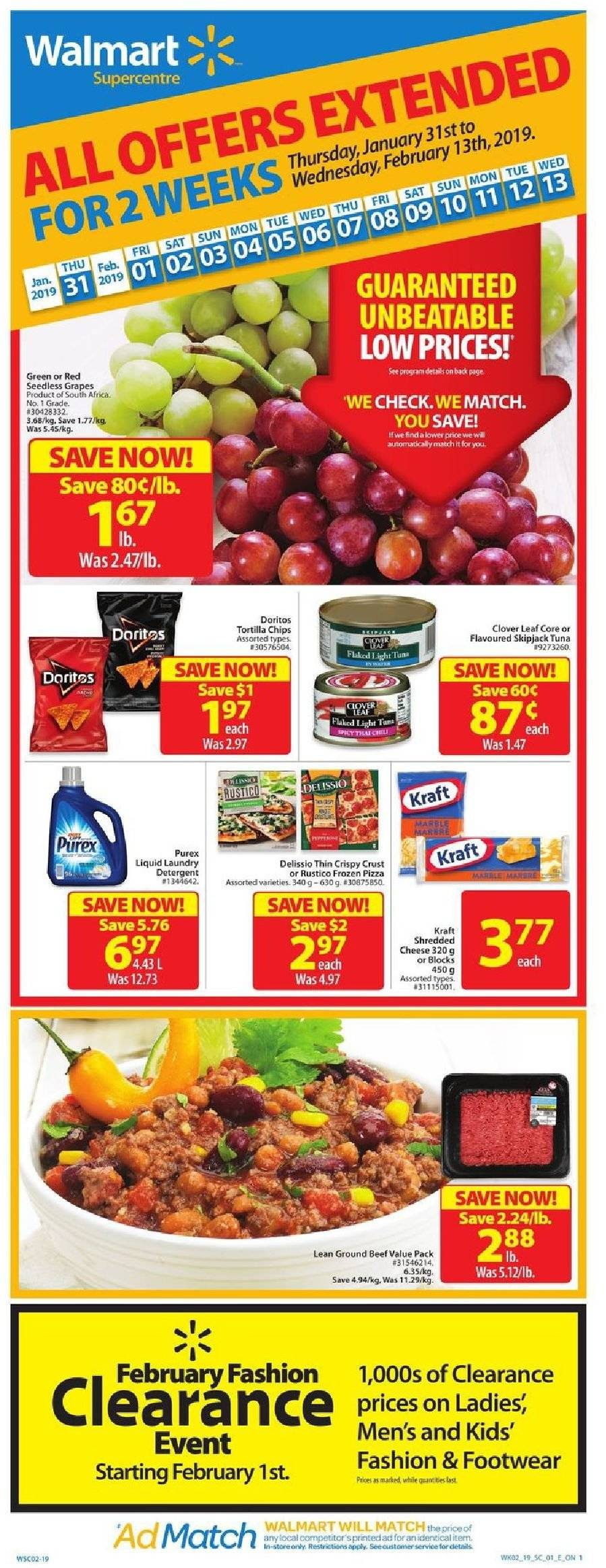 Walmart Flyer - January 31, 2019 - February 13, 2019 - Sales products - beef meat, detergent, doritos, frozen, grapes, ground beef, seedless grapes, shredded cheese, tortilla chips, tuna, pizza, chips, cheese, footwear, tortilla. Page 1.