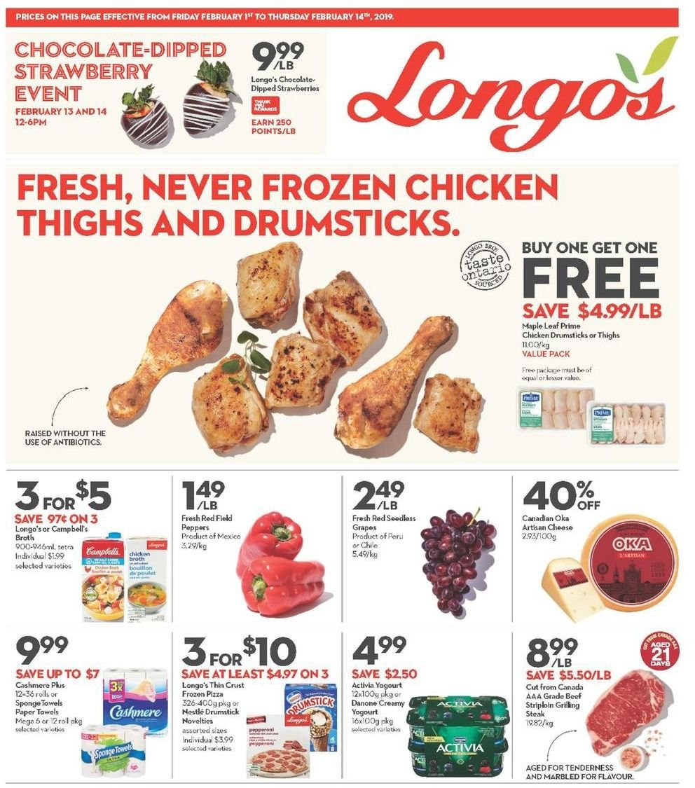 Longo's Flyer - February 01, 2019 - February 14, 2019 - Sales products - beef meat, campbell's, frozen, grapes, nestlé, seedless grapes, strawberries, tetra, towel, pizza, chicken, chicken broth, chicken drumsticks, paper towel, chicken thighs, chocolate, steak, cheese, sponge, strawberry, activia. Page 1.