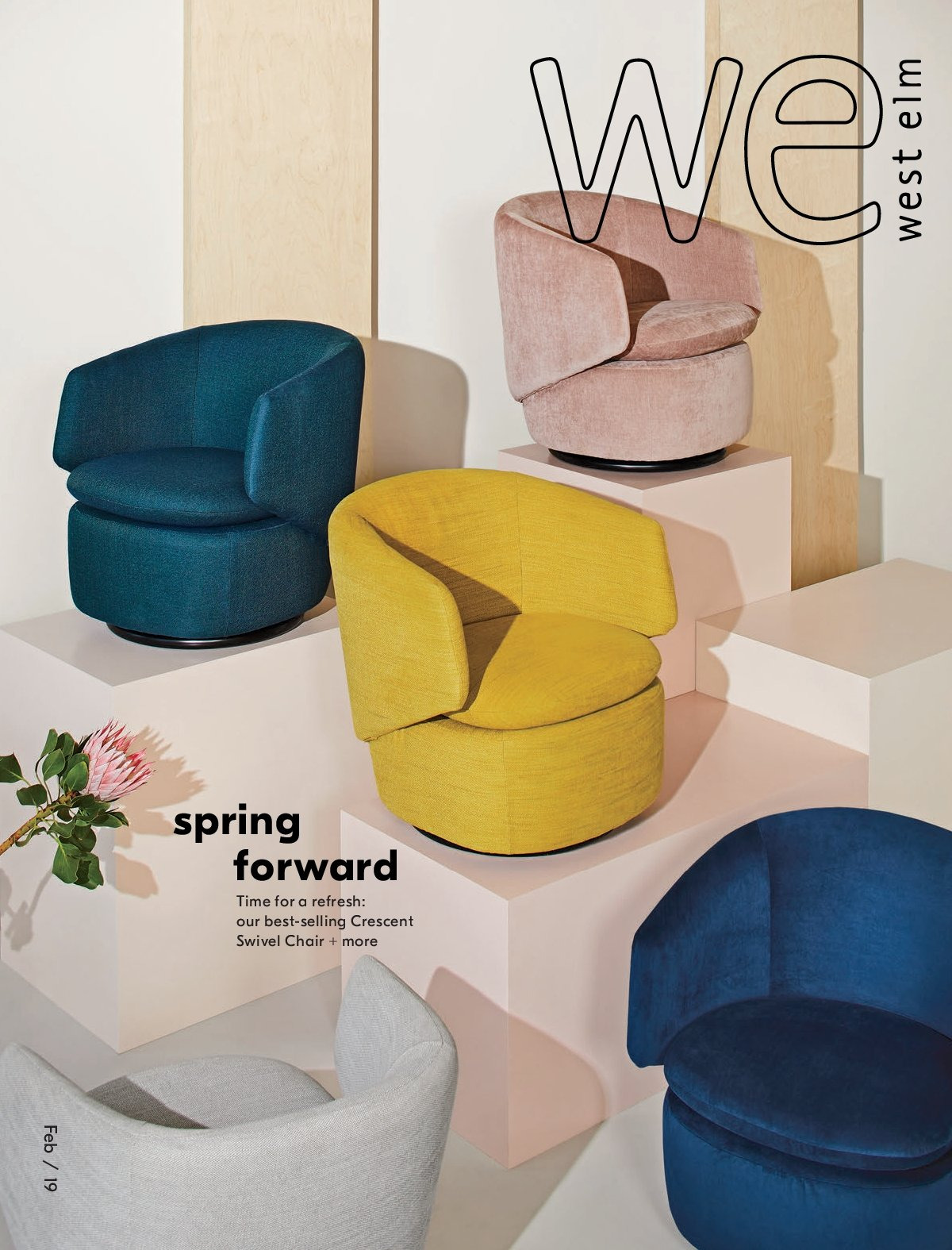 West Elm Flyer - February 01, 2019 - February 28, 2019 - Sales products - swivel chair, chair. Page 1.