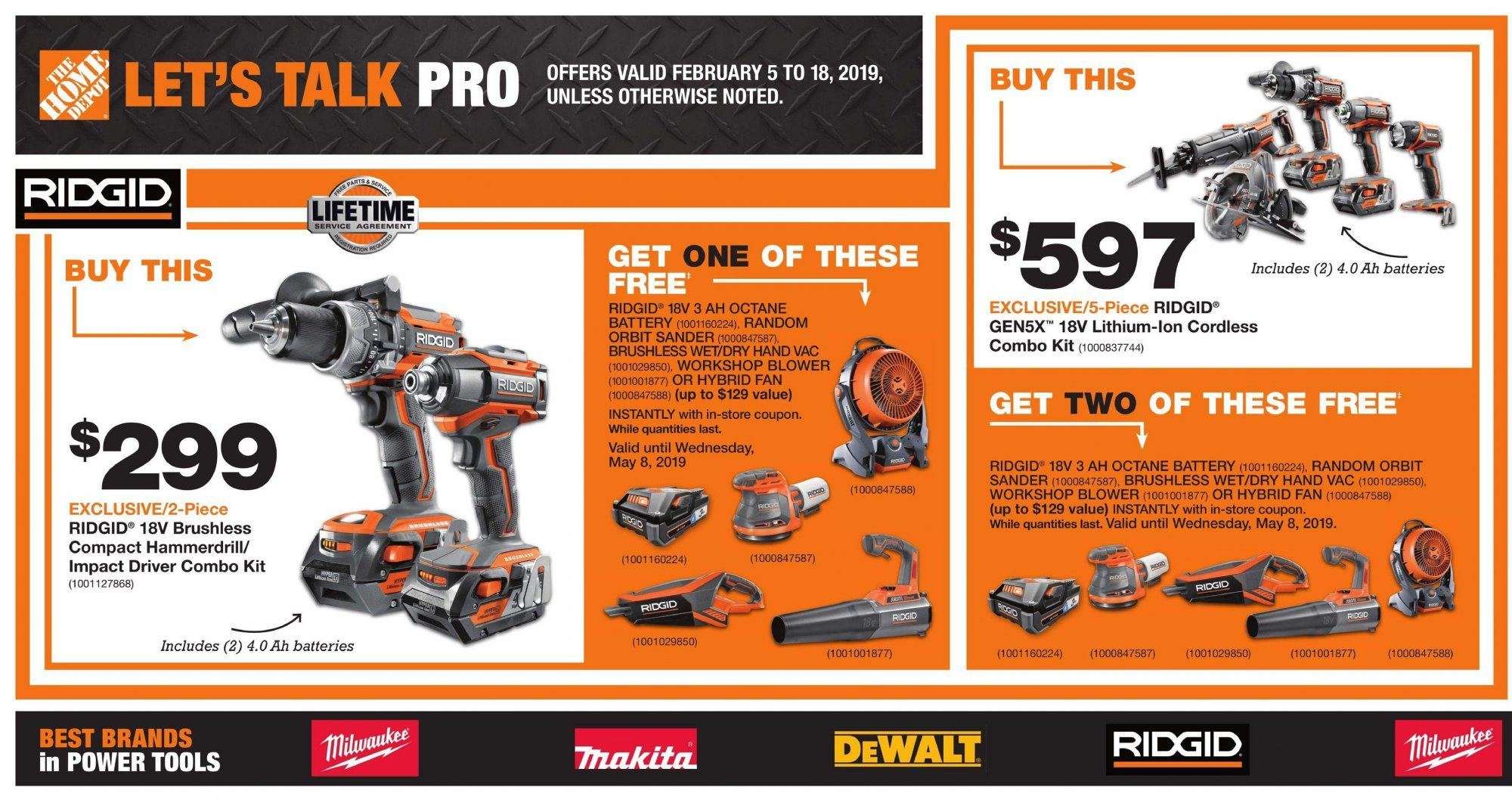 Home Depot Flyer - February 05, 2019 - February 18, 2019 - Sales products - battery, cordless combo kit, dewalt, random orbit sander, impact driver, power tools, milwaukee, ridgid, combo kit, orbit. Page 1.