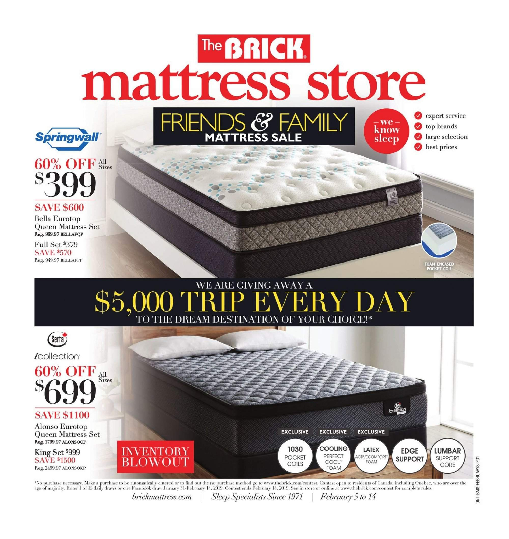 The Brick Flyer - February 05, 2019 - February 14, 2019 - Sales products - bella, foam, mattress, thé, latex. Page 1.