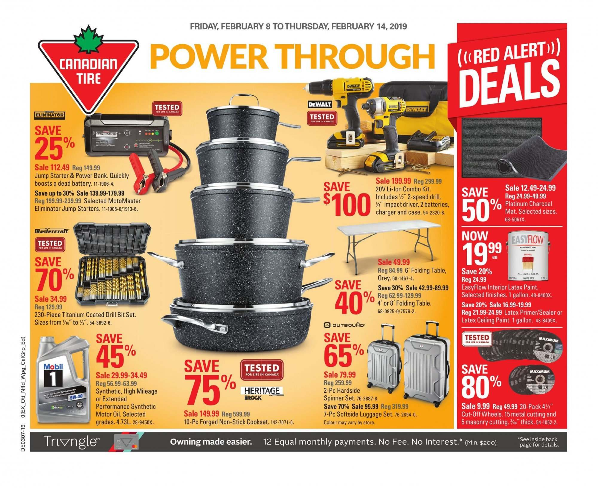 Canadian Tire Flyer - February 08, 2019 - February 14, 2019 - Sales products - battery, drill, luggage, luggage set, mat, mobil, motor oil, stick, table, impact driver, charcoal, charger, combo kit, latex. Page 1.