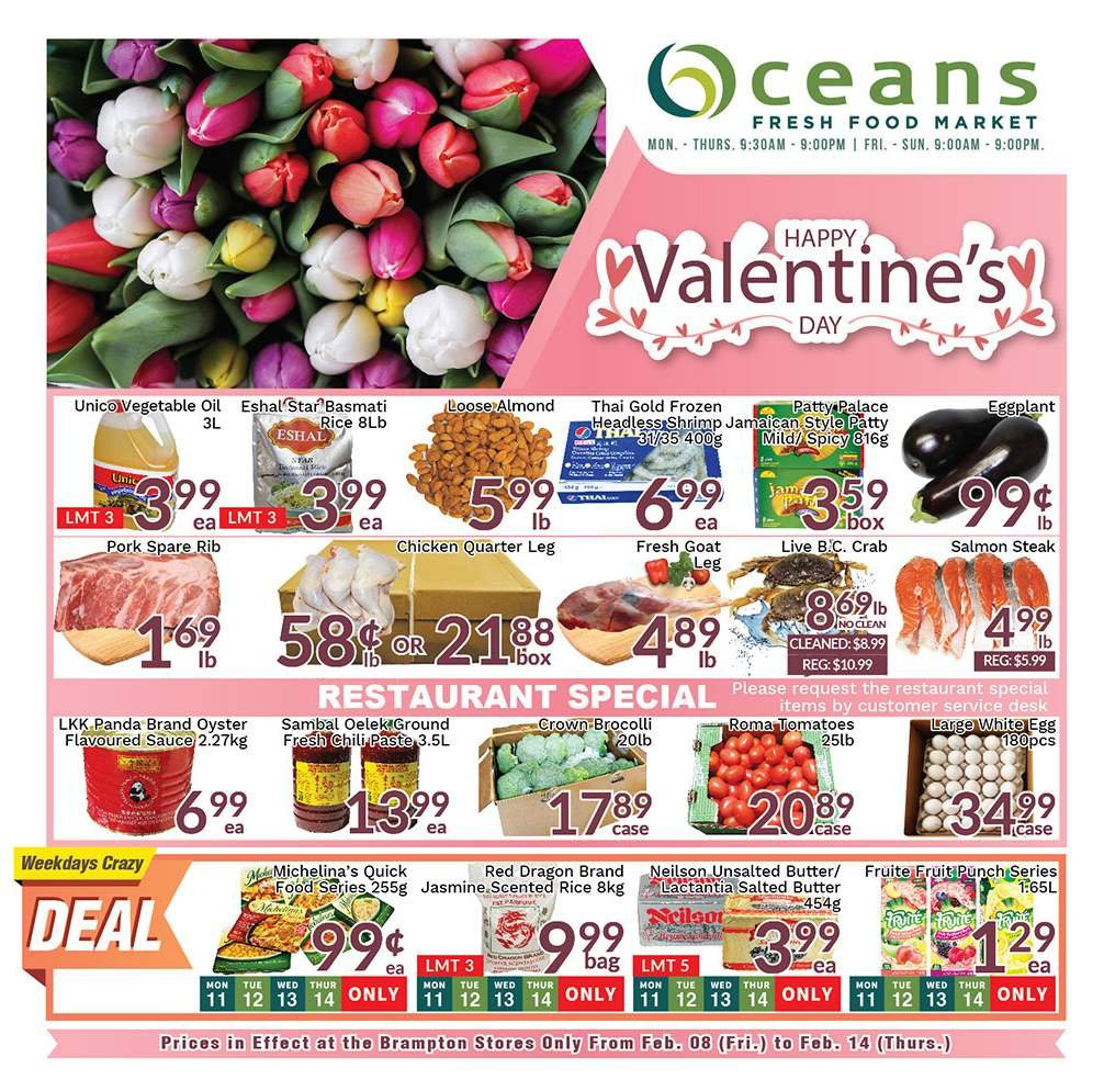 Oceans Flyer - February 08, 2019 - February 14, 2019 - Sales products - butter, desk, frozen, rice, salmon, shrimp, tomatoes, vegetable oil, pork meat, chicken, steak, vegetable, panda, punch, sauce, dragon, thé. Page 1.