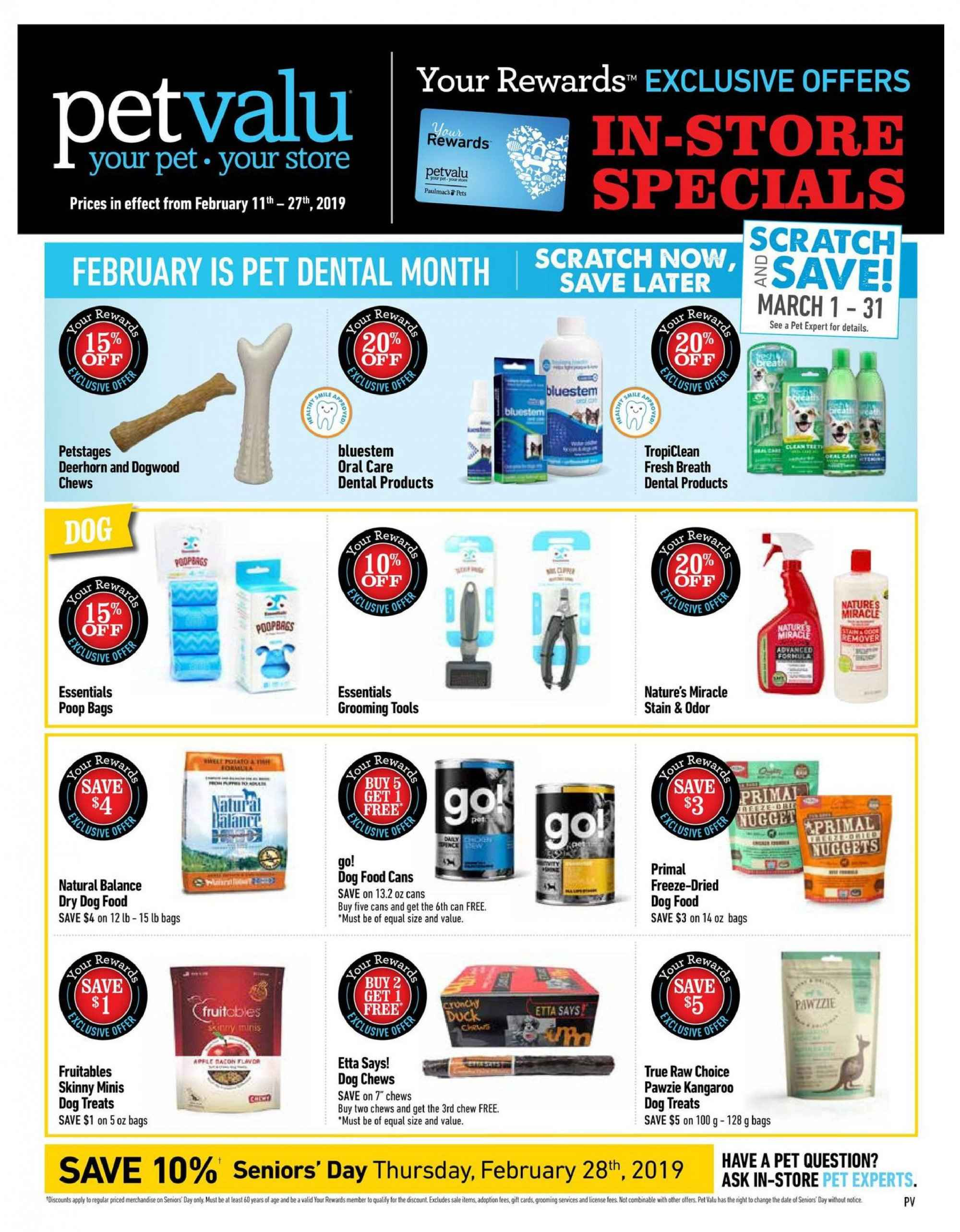 Pet Valu Flyer - February 11, 2019 - February 27, 2019 - Sales products - animal food, bag, dog food, pet, primal freeze, nuggets, pets. Page 1.