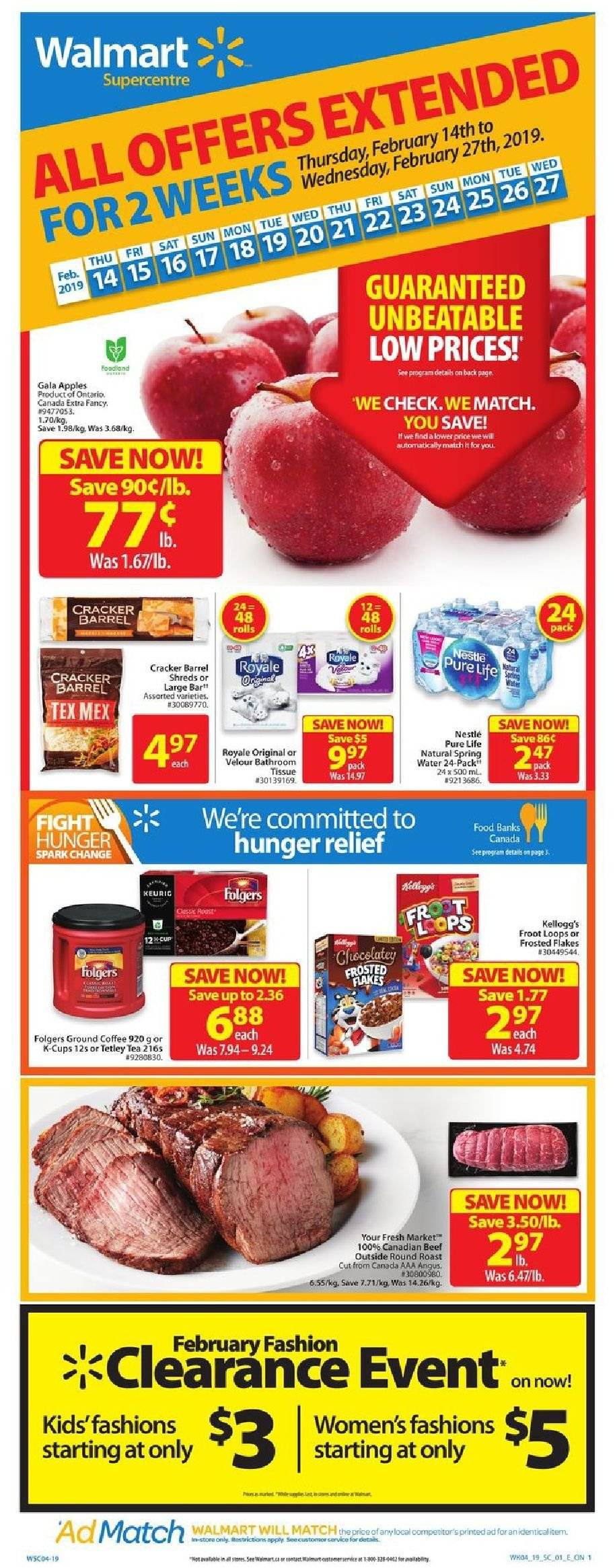 Walmart Flyer  - February 14, 2019 - February 27, 2019. Page 1.