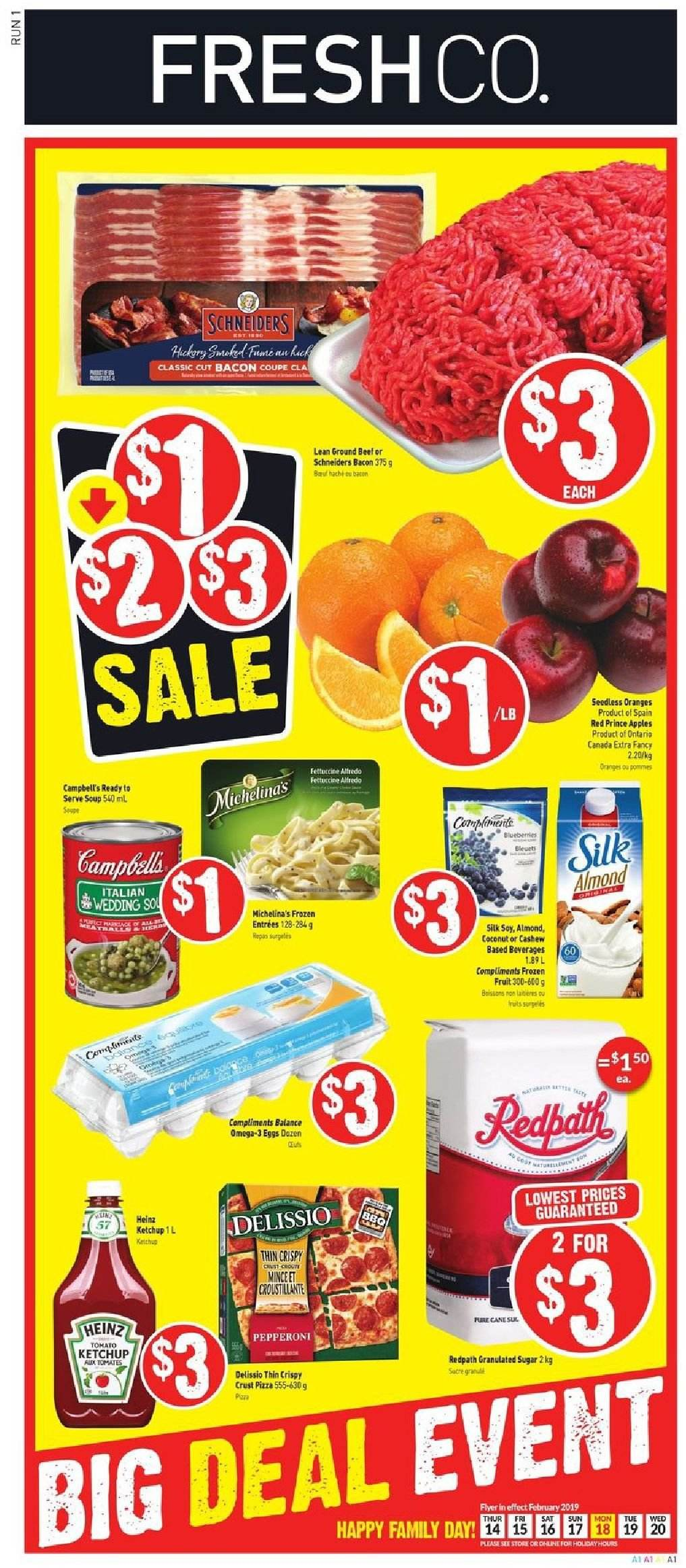 FreshCo. Flyer - February 14, 2019 - February 20, 2019 - Sales products - apple, bacon, beef meat, eggs, frozen, granulated sugar, ground beef, sugar, heinz, ketchup, pizza, pepperoni, oranges, coconut, soup, pommes, coupe. Page 1.