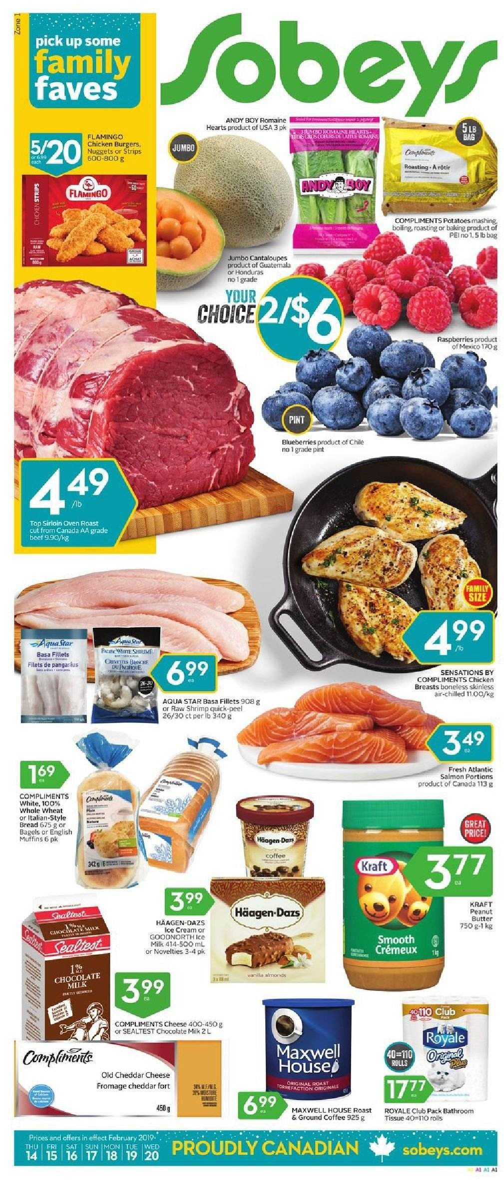 Sobeys Flyer - February 14, 2019 - February 20, 2019 - Sales products - almonds, bag, bagels, beef meat, blueberries, bread, butter, cantaloupe, coffee, cream, english muffins, flamingo, maxwell house, milk, muffins, raspberries, salmon, shrimp, ice cream, potatoes, cheddar, chicken, chicken breast, peanut butter, peanuts, oven, chocolate milk, chocolate, cheese, nuggets, smooth, fromage. Page 1.