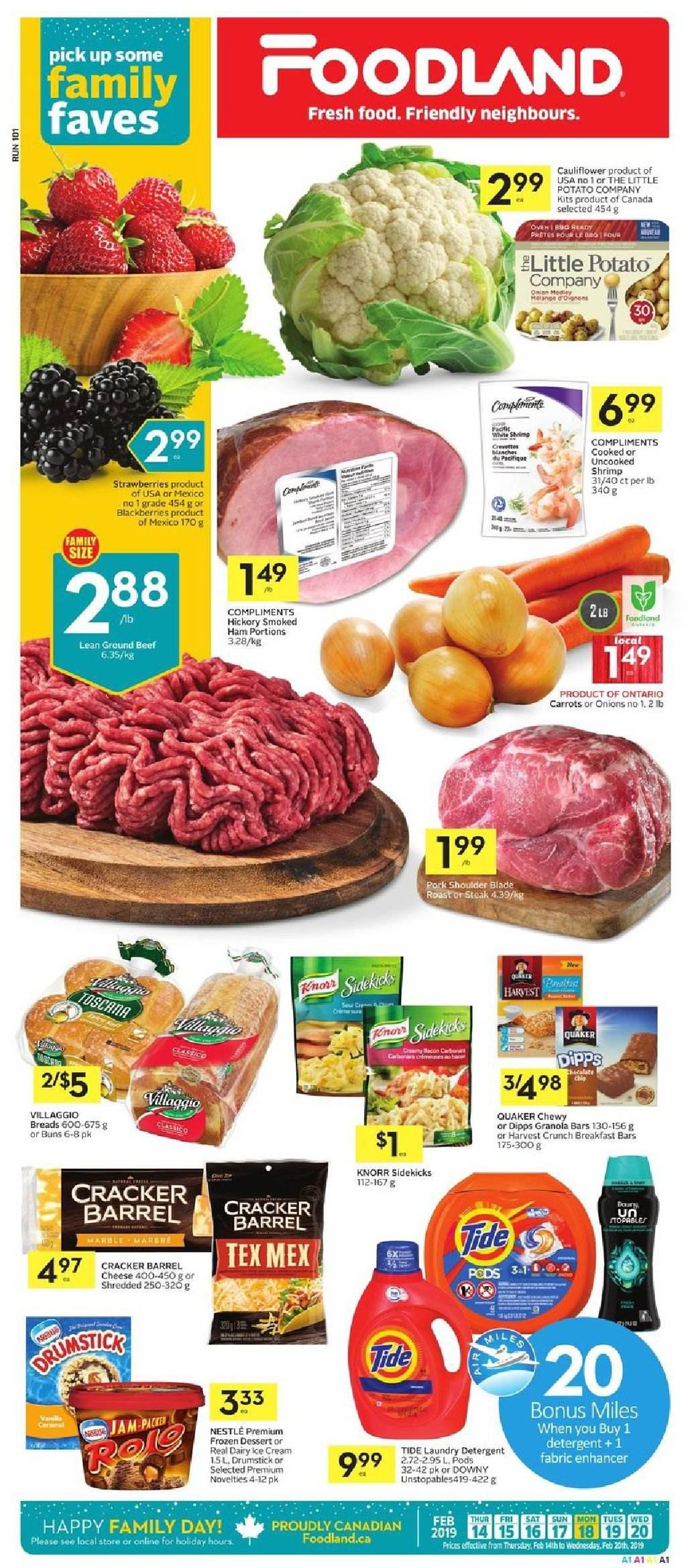 Foodland Flyer  - February 14, 2019 - February 20, 2019. Page 1.