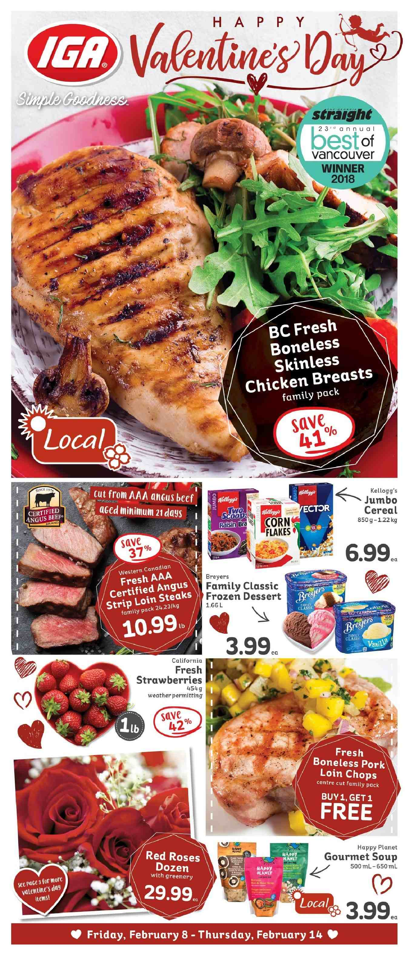 IGA Flyer - February 08, 2019 - February 14, 2019 - Sales products - beef meat, cereals, frozen, strawberries, pork loin, pork meat, chicken, chicken breast, dessert, soup, roses, cereal. Page 1.