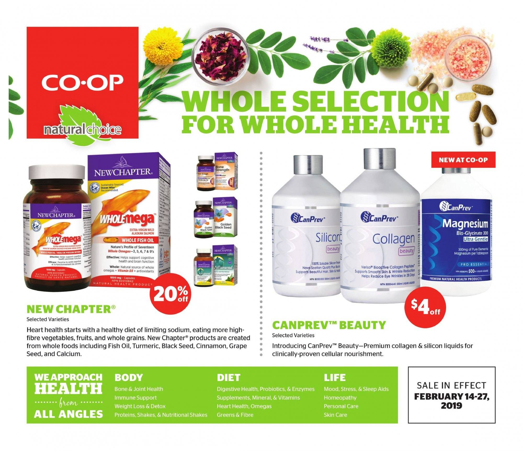 Calgary Co-op Flyer - February 14, 2019 - February 27, 2019 - Sales products - calcium, capsules, d3, fish oil, grapes, magnesium, turmeric, probiotics, vegetable, smooth, seed, détox, huile, support. Page 1.