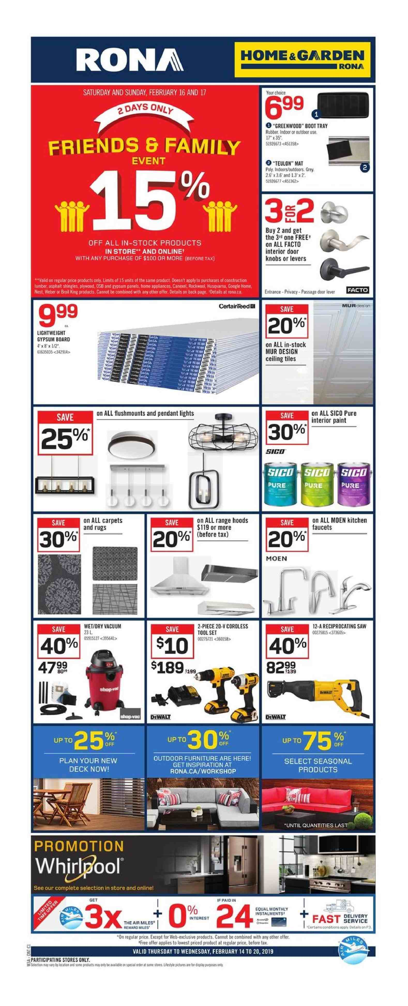 RONA Flyer - February 14, 2019 - February 20, 2019 - Sales products - door, furniture, google, knob, mat, rug, shingle, tray, vacuum, weber, plywood, pendant, google home, board, outdoor furniture. Page 1.