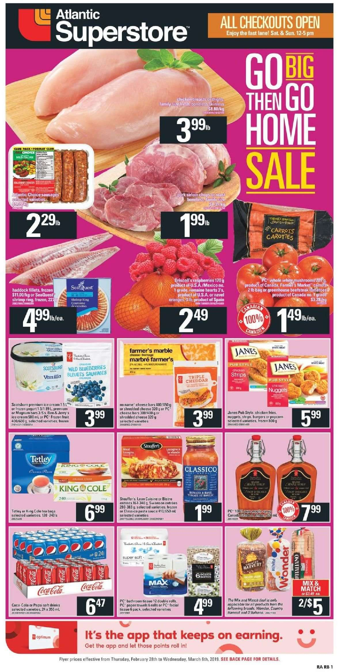 Atlantic Superstore Flyer - February 28, 2019 - March 06, 2019 - Sales products - bag, blueberries, carrots, cream, frozen, greenhouse, magnum, navel oranges, raspberries, ring, shredded cheese, shrimp, tea, tomatoes, towel, yogurt, haddock, ice cream, popcorn, pork meat, cheddar, chicken, chicken breast, paper towel, pasta sauce, pepsi, oranges, cheese, nuggets, pasta, sauce, carotte, fromage, marble. Page 1.