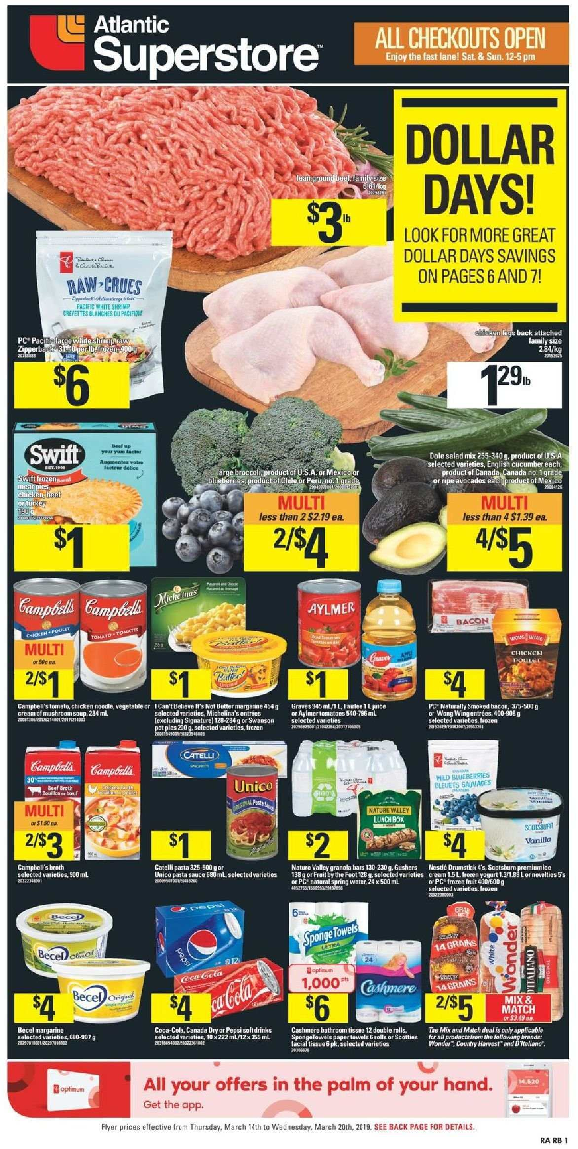 Atlantic Superstore Flyer - March 14, 2019 - March 20, 2019 - Sales products - avocado, bacon, beef meat, blueberries, broccoli, butter, canada dry, cream, cucumbers, frozen, granola, granola bars, ground beef, margarine, nestlé, shrimp, tomatoes, towel, yogurt, chicken, paper towel, pasta sauce, pepsi, juice, vegetable, pasta, salad, sauce, crevette. Page 1.