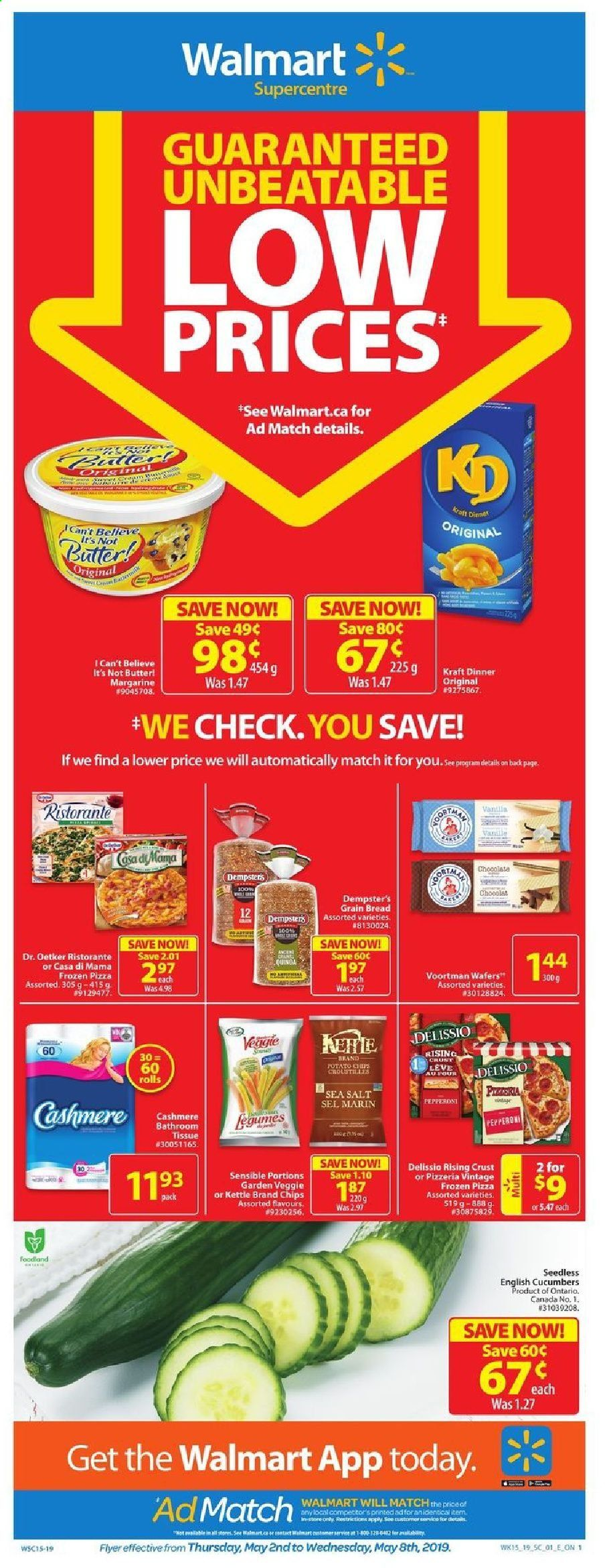 Walmart Flyer - May 02, 2019 - May 08, 2019 - Sales products - bread, butter, cucumbers, frozen, margarine, veggie, wafers, pizza, pepperoni, chips, salt, sel. Page 1.