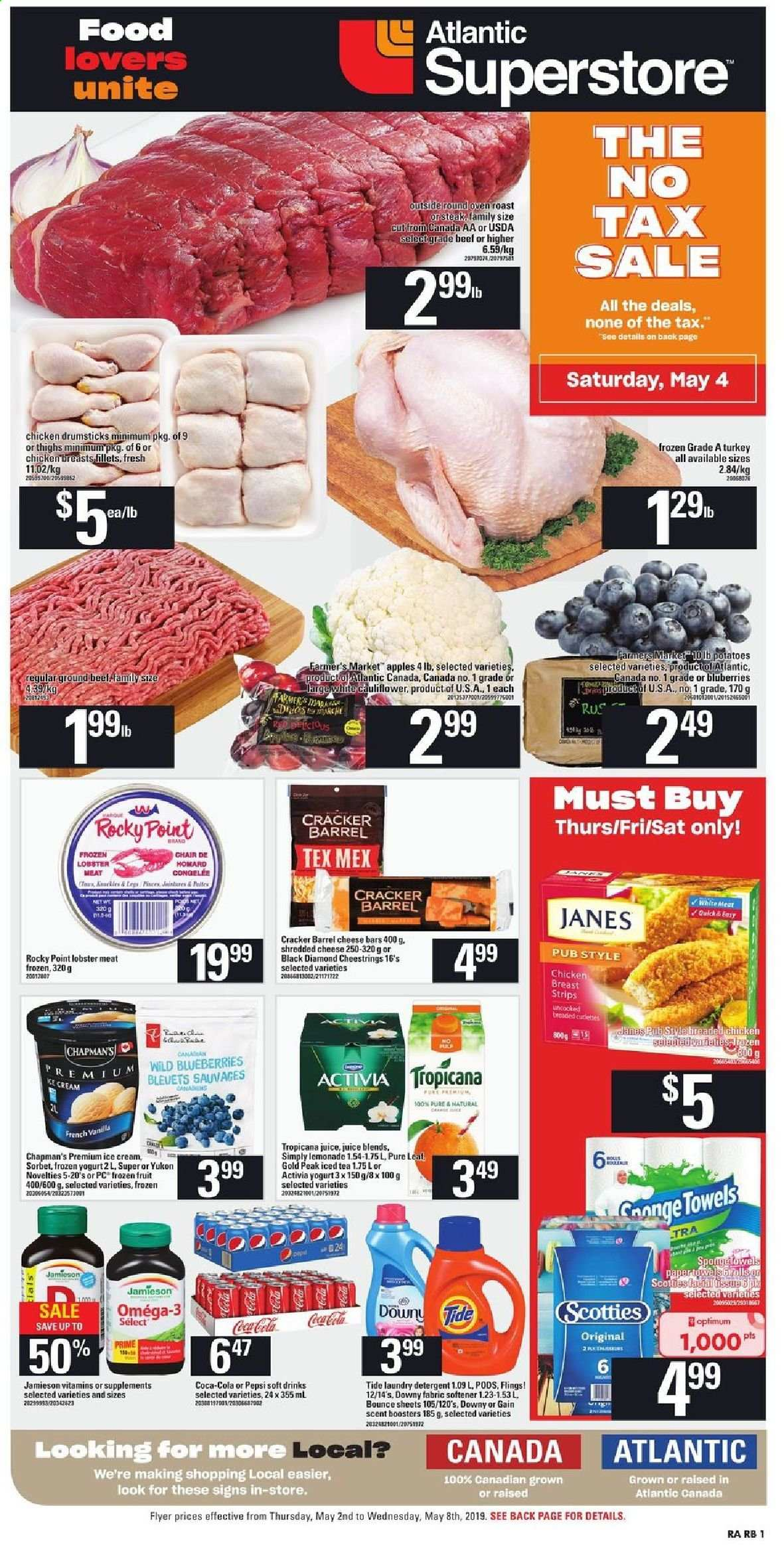 Atlantic Superstore Flyer - May 02, 2019 - May 08, 2019 - Sales products - apples, beef meat, blueberries, bounce, cream, detergent, downy, frozen, lemonade, lobster, shredded cheese, tea, tide, turkey, yogurt, chair, ice cream, potatoes, chicken, chicken breast, chicken drumsticks, pepsi, omega-3, cheese, juice, iced tea, softener, cracker, activia, jamieson, tropicana. Page 1.