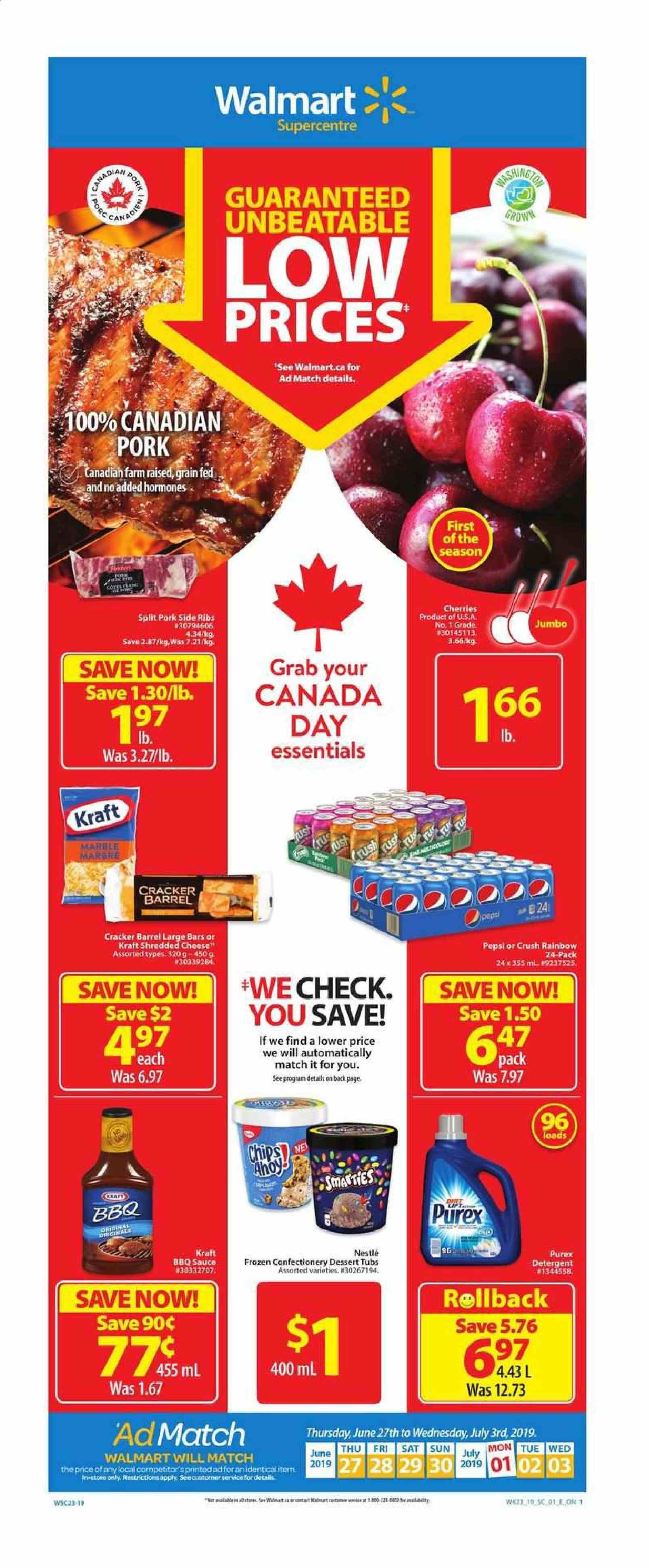 Walmart Flyer - June 27, 2019 - July 03, 2019 - Sales products - barbecue sauce, detergent, frozen, nestlé, shredded cheese, pork meat, cherries, pepsi, chips, cheese, dessert, cracker, sauce, ribs, porc. Page 1.