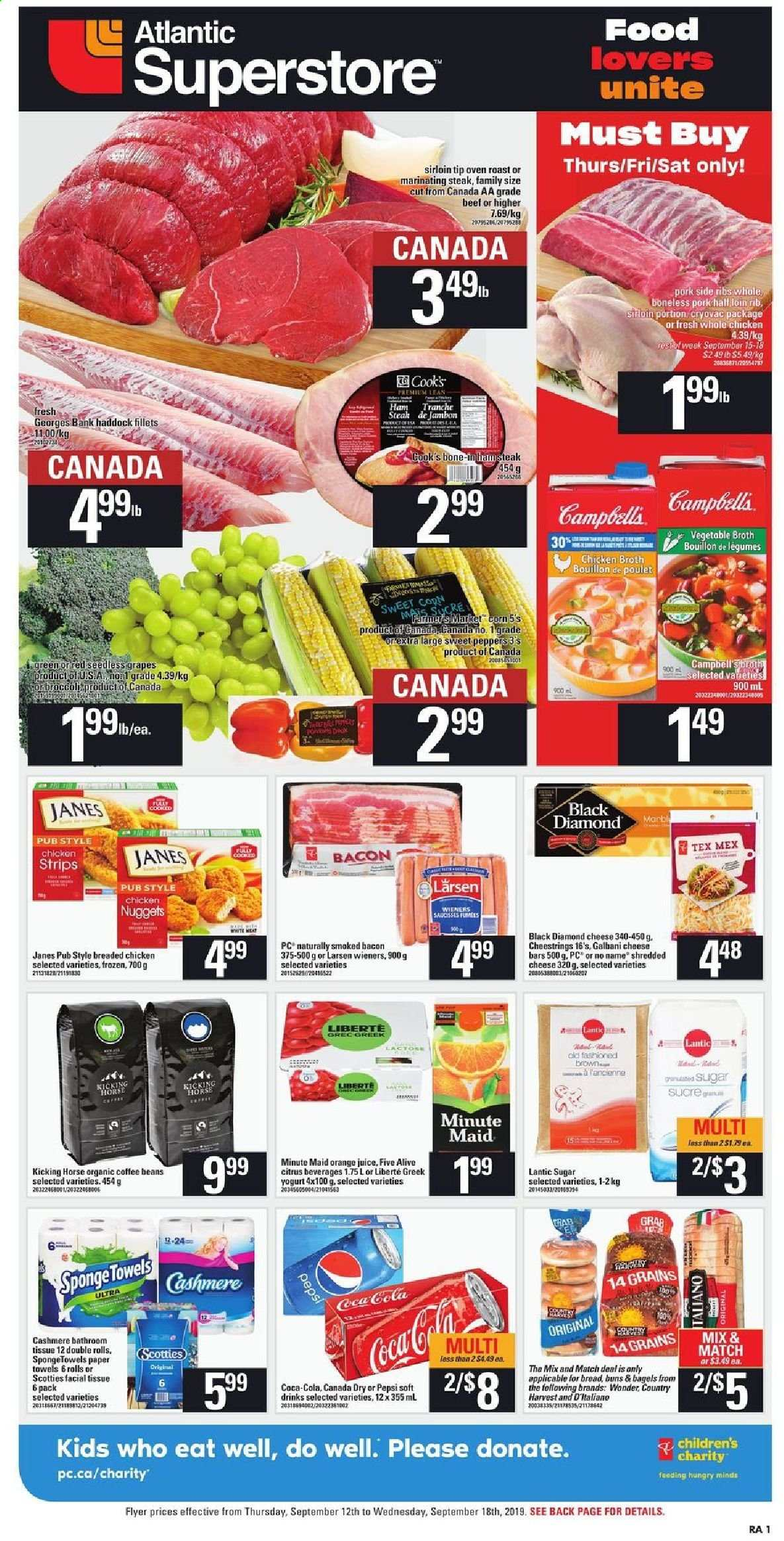 Atlantic Superstore Flyer  - September 12, 2019 - September 18, 2019. Page 1.