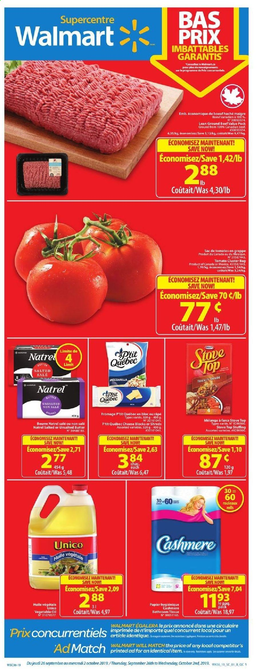 Walmart Flyer  - September 26, 2019 - October 02, 2019. Page 1.