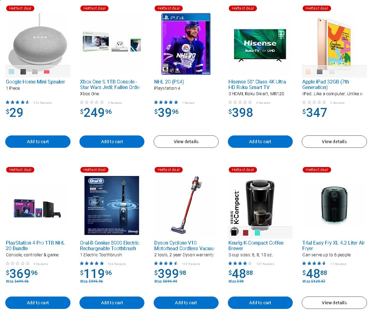 Walmart Flyer - Sales products - bundle, cart, coffee, console, controller, cup, electric toothbrush, fryer, roku, roku tv, smart tv, speaker, toothbrush, uhd tv, ultra hd, xbox one, hdmi, playstation, ps+, oral-b, air fryer, game, brewer, ipad, dyson, ps4, hisense, hotte, xbox, star wars, computer. Page 1.