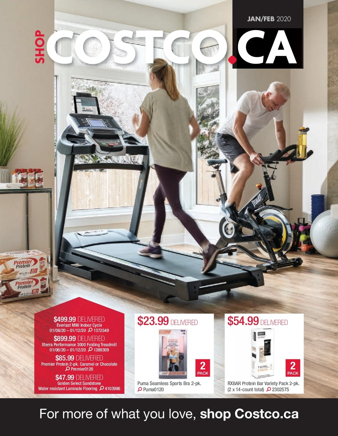 Costco Flyer - January 01, 2020 - February 29, 2020 - Sales products - bra, caramel, everlast, flooring, protein, puma, total, protein bar. Page 1.