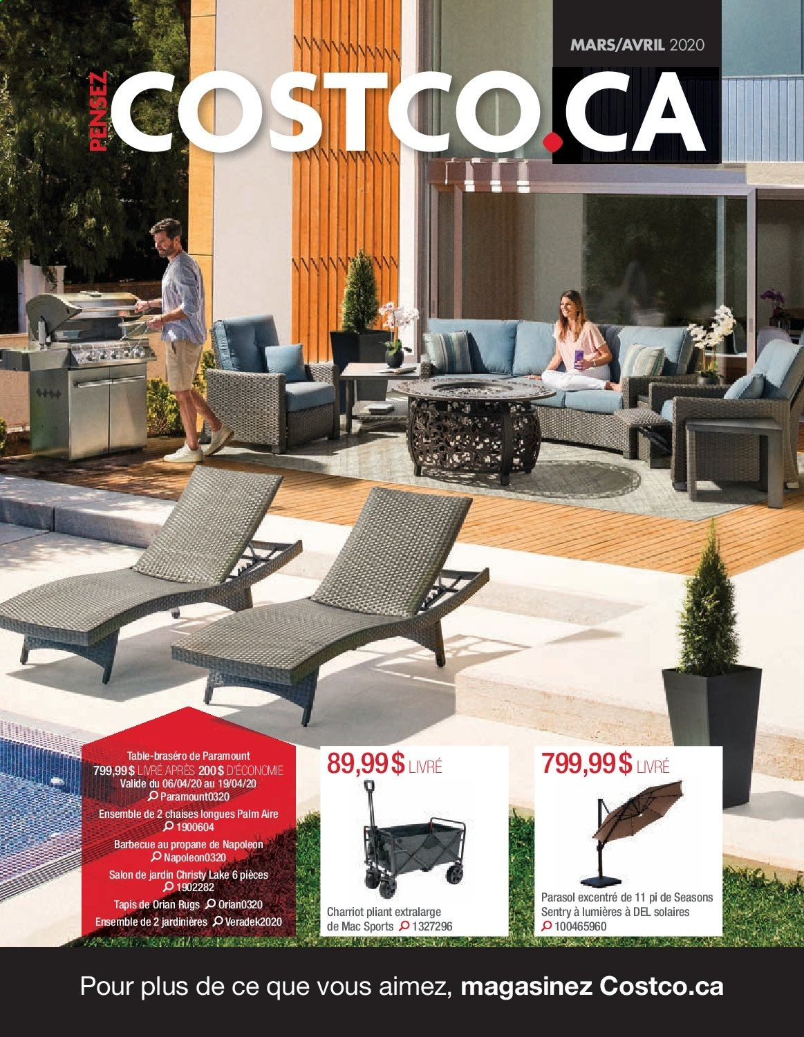 Costco Flyer - March 01, 2020 - April 30, 2020 - Sales products - rug, table, tapis, barbecue. Page 1.